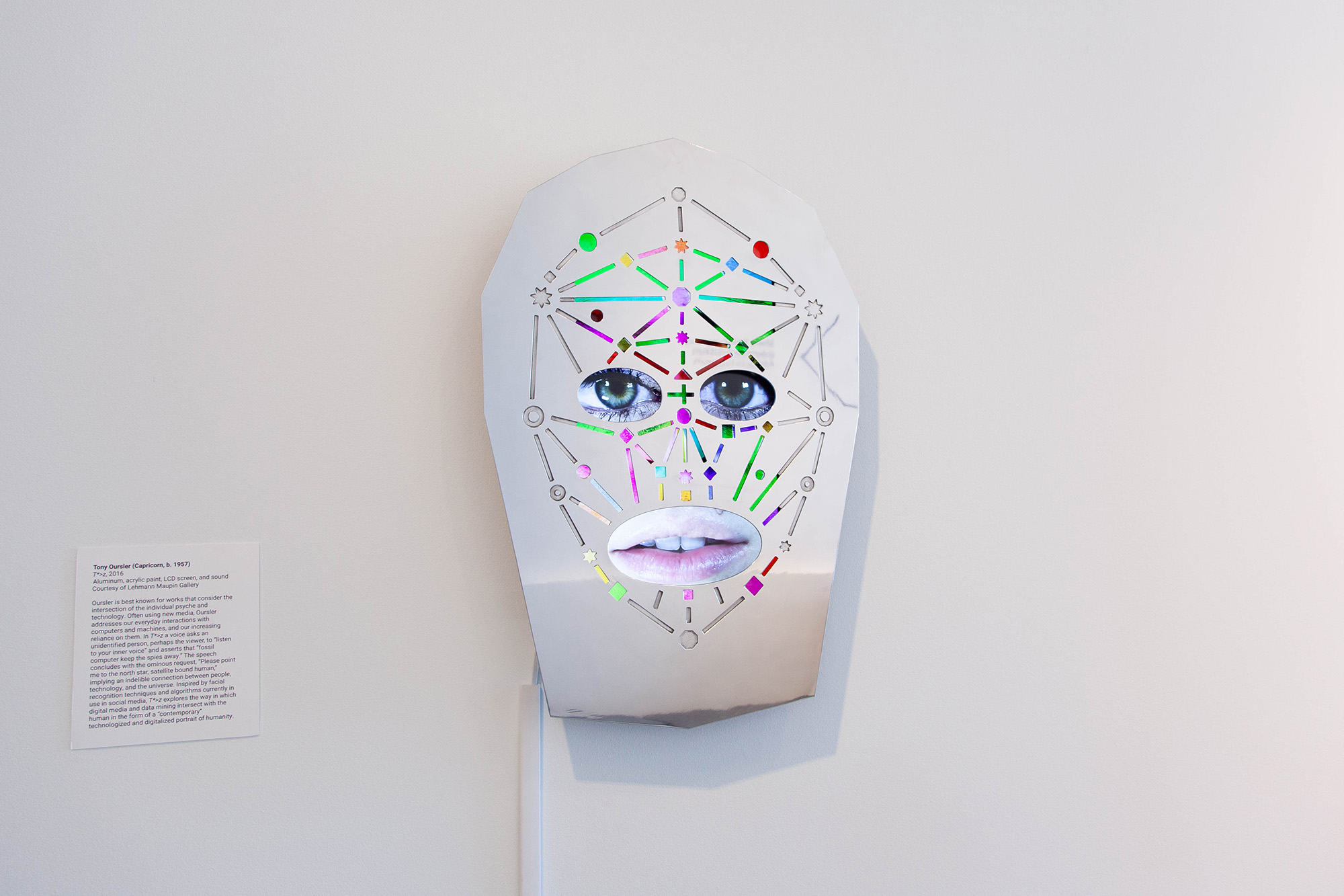 Tony Oursler, T*>z, 2016. Courtesy of Lehmann Maupin Gallery. Installation view in New Age, New Age: Strategies for Survival at DePaul Art Museum, 2019. Photo: DePaul Art Museum