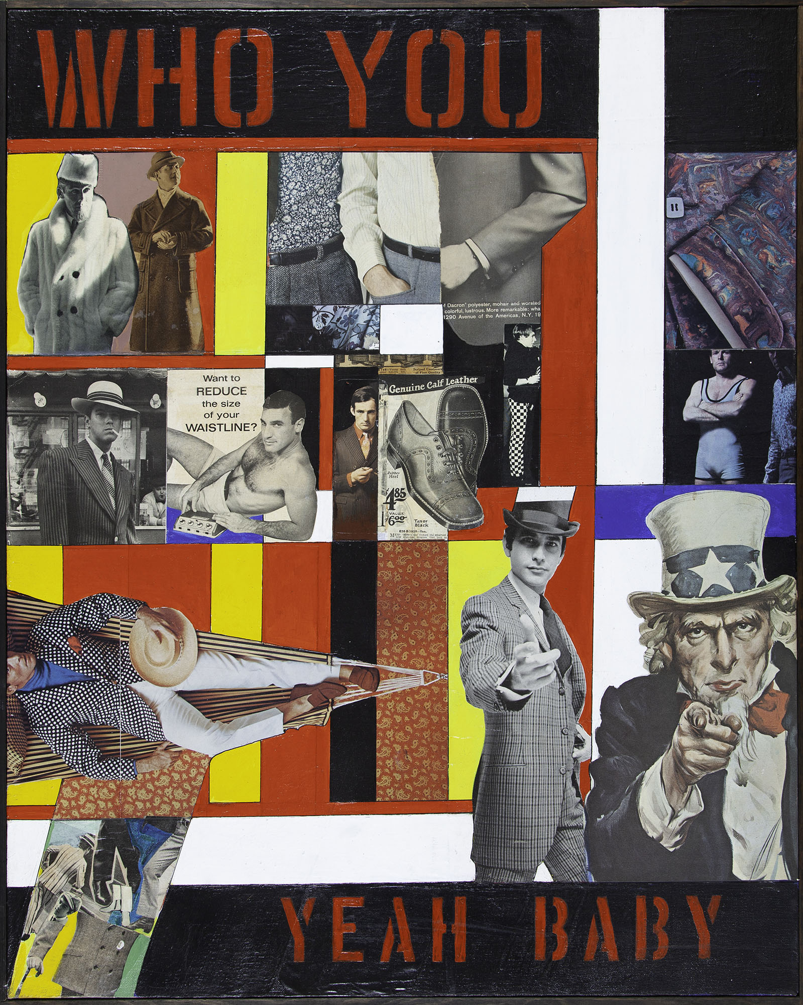 Ralph Arnold, Who You/Yeah Baby, ca. 1968. Oil and collage on canvas. Collection of DePaul Art Museum, Art Acquisition Endowment, 2008.81