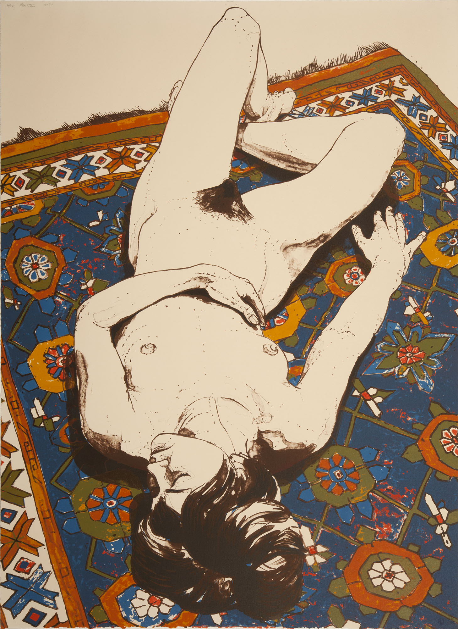 Phillip Pearlstein, Untitled [nude reclining on carpet], 1970. Lithograph. Collection of DePaul Art Museum, gift of John and Mary Gedo, 2010.6