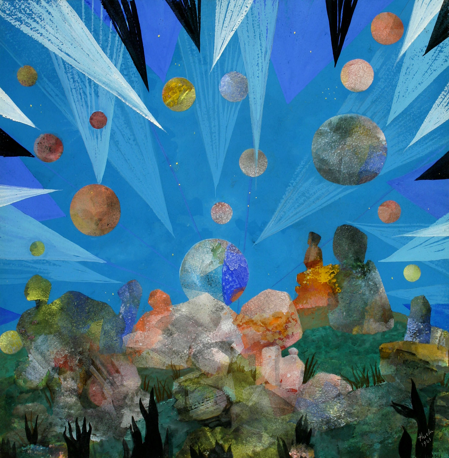 Julia Thecla, Strange Planet, 1961. Tempera on board. Collection of Depaul University, Gift of Helen T. Findlay, 5197