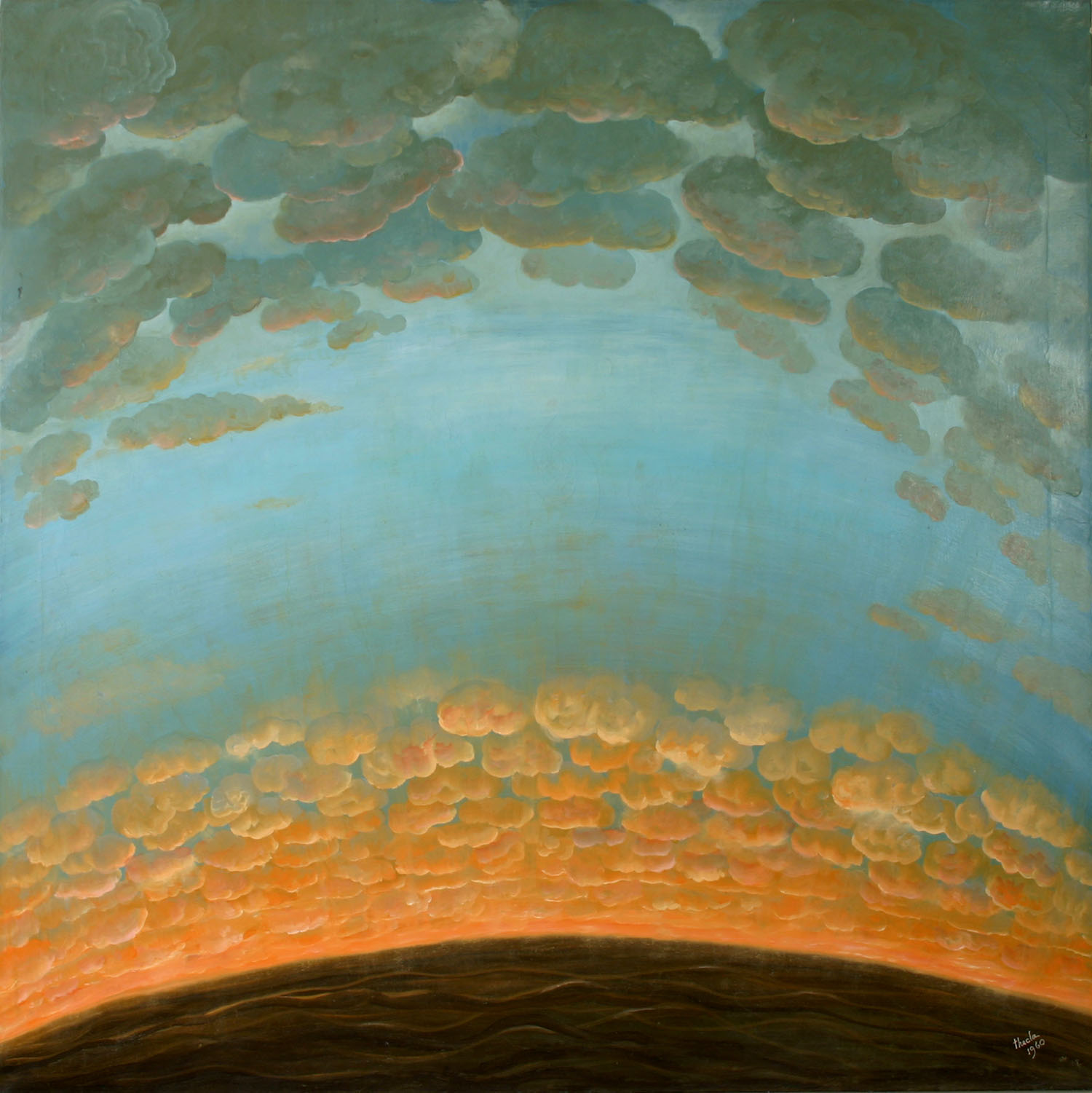 Julia Thecla, In The Clouds, 1960. Oil on Canvas. Collection of DePaul University, gift of Helen T. Findlay, 5212