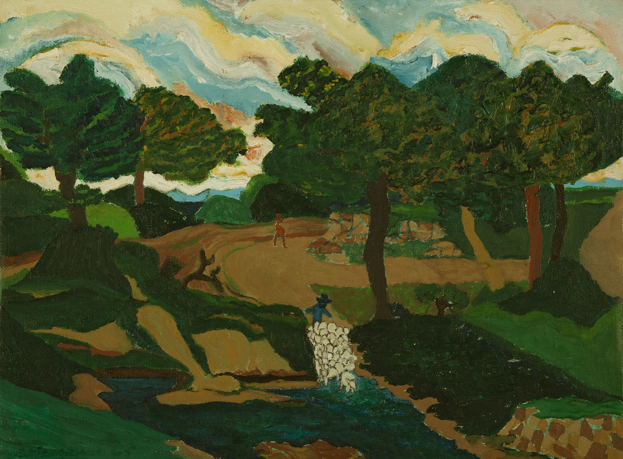 Robert Louis Thompson, Shepherding, 1965. Oil on canvas. Collection of DePaul Art Museum, gift of Samuel and Blanche Koffler, 2012.118