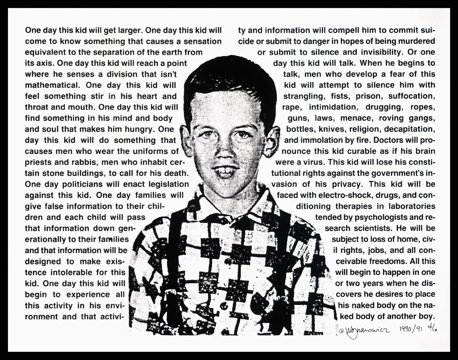 David Wojnarowicz, Untitled (One day this kid…) 1990, Photostat