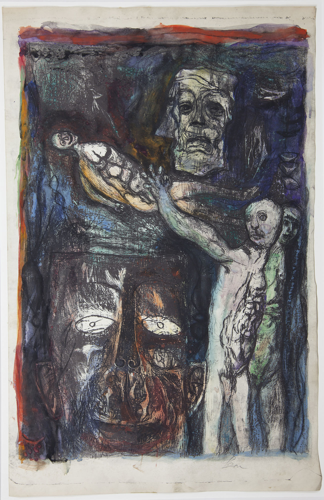 Leon Golub, Carnival, late 20th century. Lithograph, watercolor, pastel, and charcoal on paper. Collection of DePaul Art Museum, Art Acquisition Endowment, 2010.19