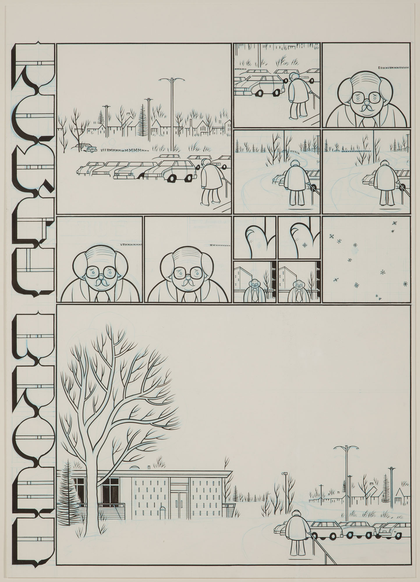 Chris Ware, Rusty-Brown, Mr. Brown and Snowflakes, 2002. Ink and blue pencil on board. Collection of DePaul Art Museum, Art Acquisition Endowment, 2010.45
