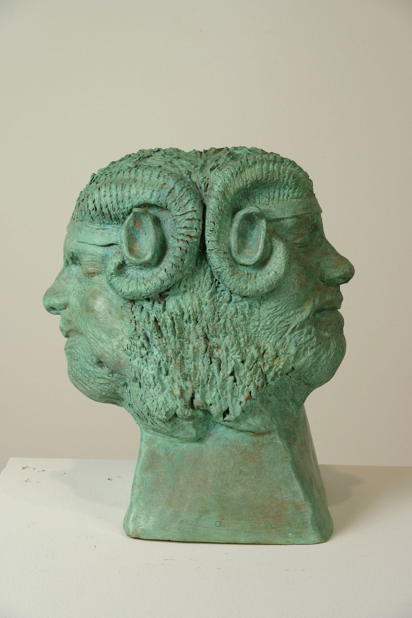 William Iaculla, Janus, 1973. Terra-cotta with bronze patina. Courtesy of the artist.