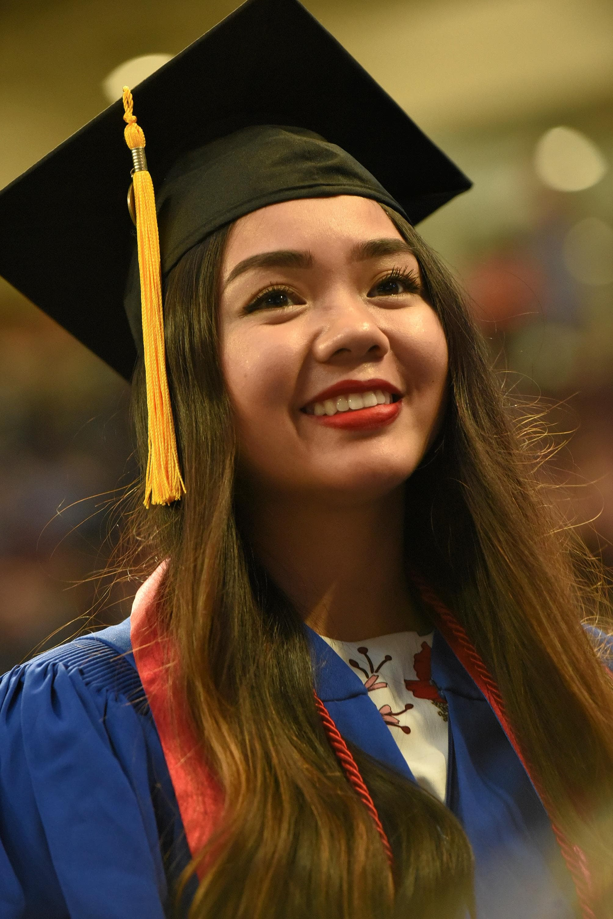 Close up of graduate at commencement