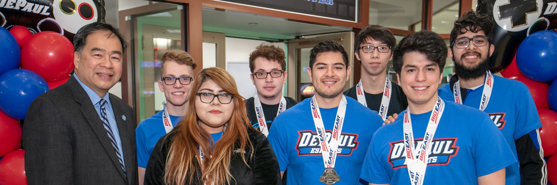 DePaul's League of Legends esports team with President A. Gabriel Esteban, PhD.