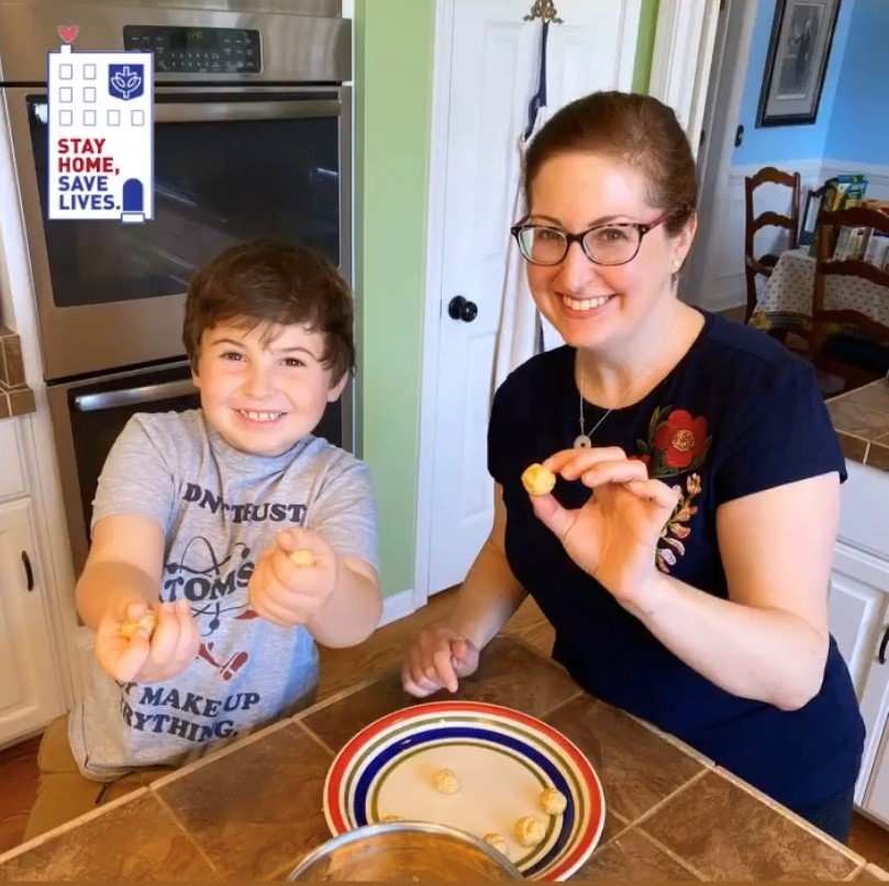 In lieu of traveling to New York for her family's traditional Passover Seder, University Marketing and Communications' Elizabeth Clements used the opportunity to teach her son, Mikey, how to make matzo balls, safe at home.