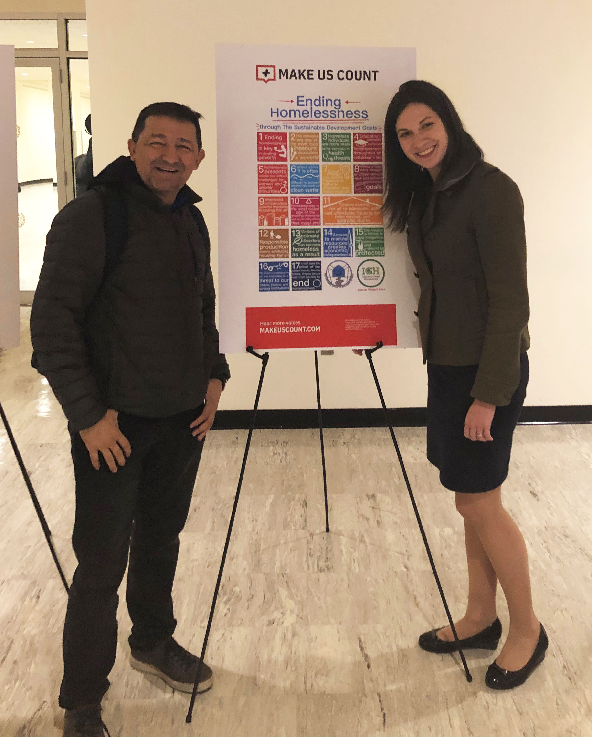 The Rev. Guillermo Campuzano, C.M., (left) and Lydia Stazen attended the UN meeting earlier this month