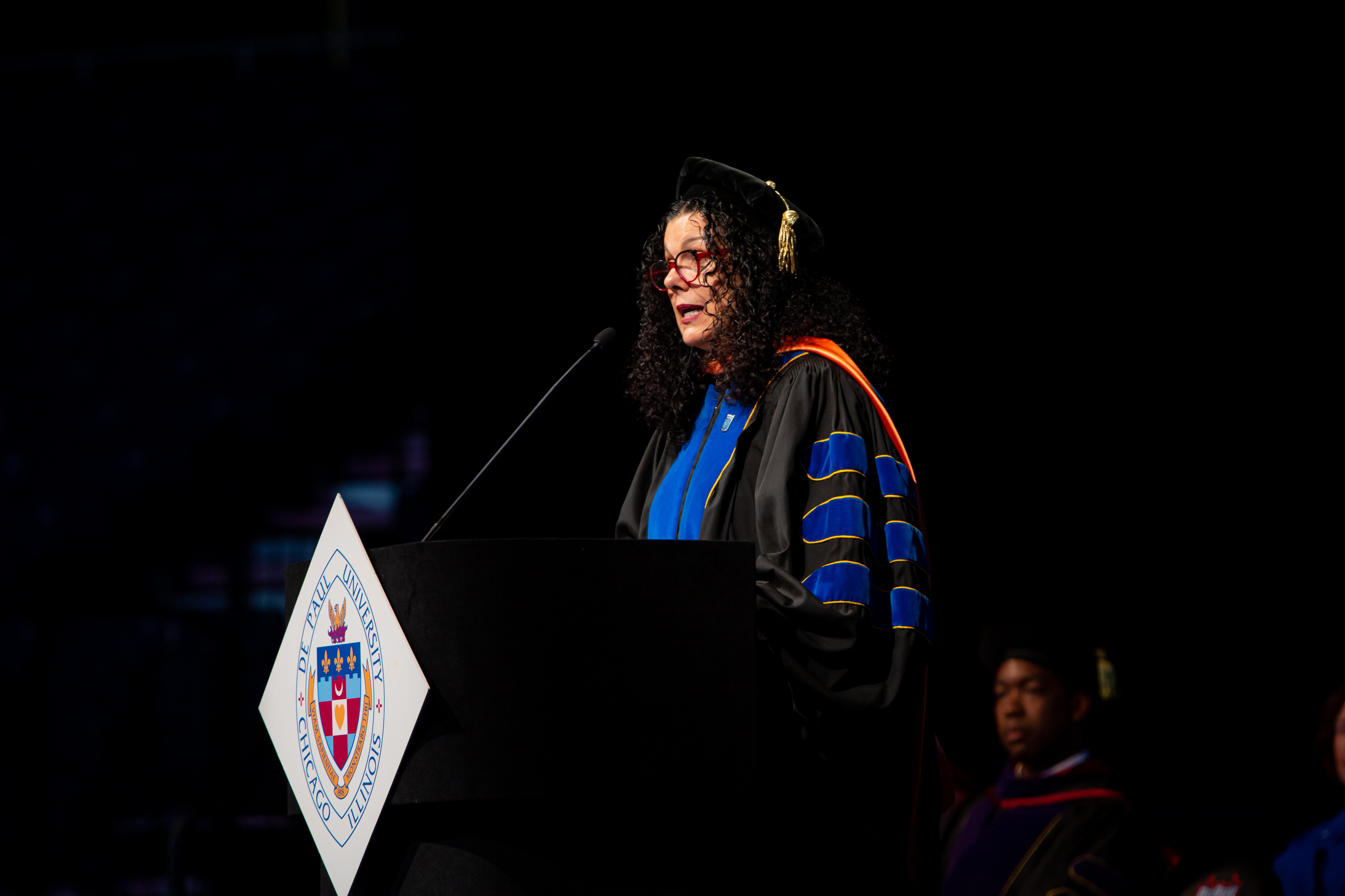 Salma Ghanem, interim provost, introduced each of DePaul's 10 deans and encouraged students from their respective schools to cheer the loudest for their dean. (DePaul University/Randall Spriggs)