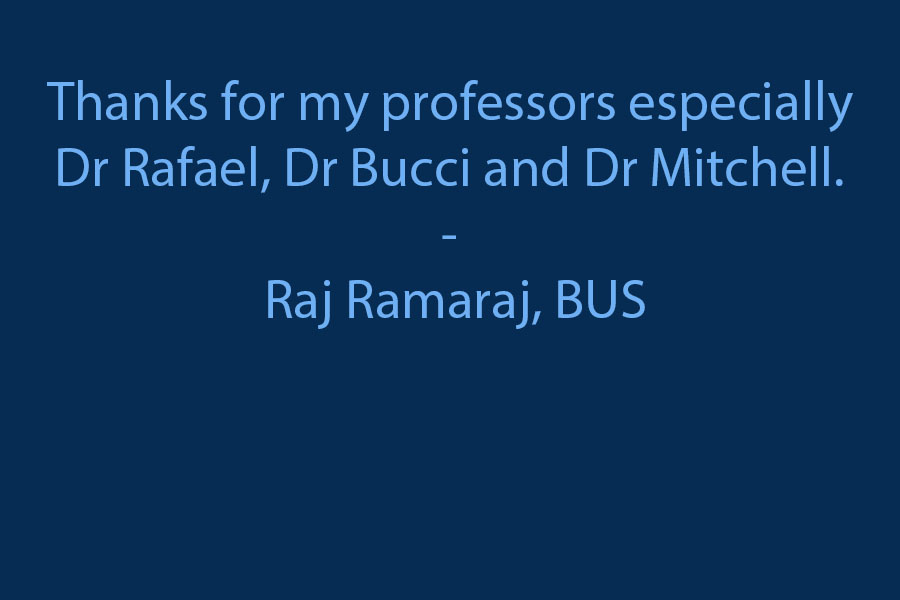 Thanks for my professors especially Dr.  Rafael, Dr Bucci and Dr Mitchell.