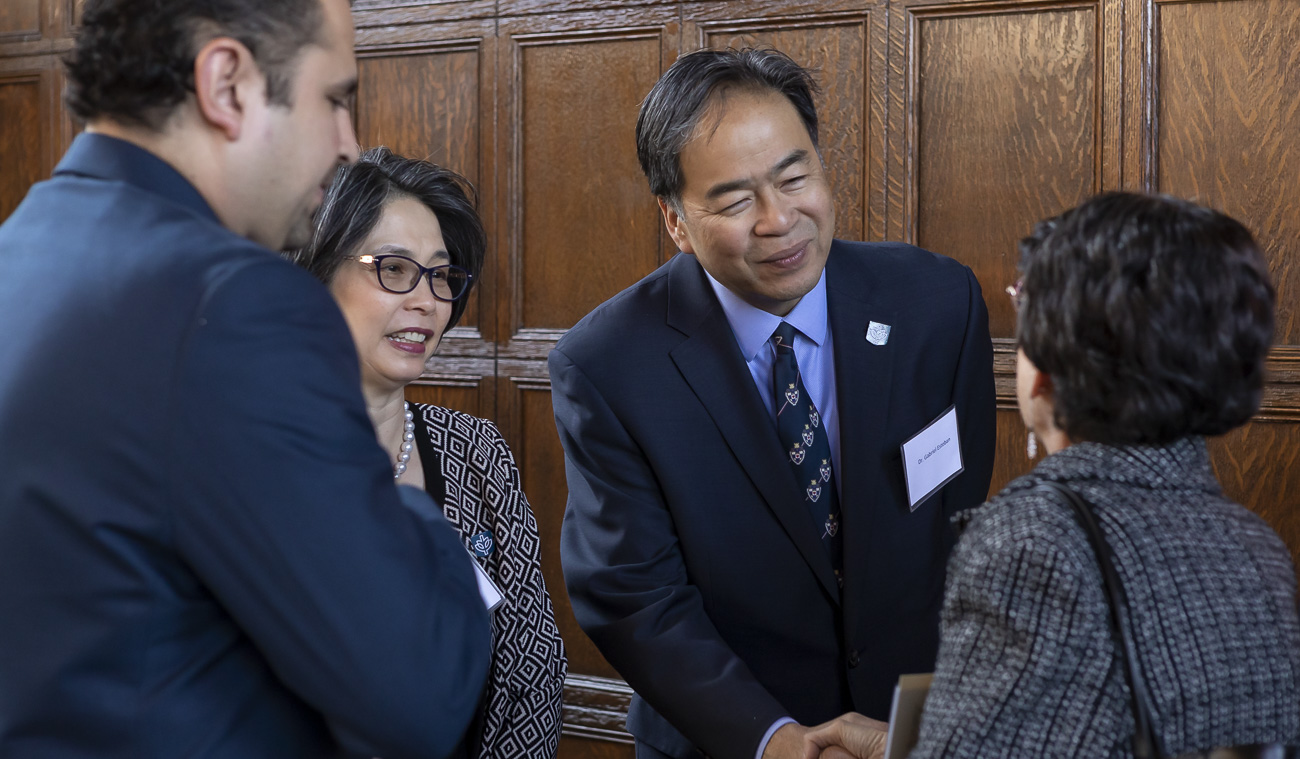 A. Gabriel Esteban, Ph.D., president of DePaul University, and his wife Josephine greet guests at the 14th Annual Consular Corps Luncheon on April 2 in Cortelyou Commons. (DePaul University/Jeff Carrion)