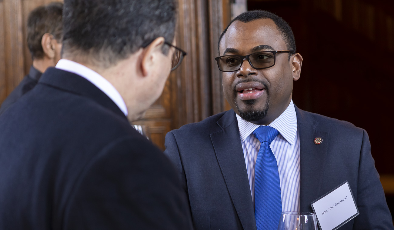 Youri Emmanuel of Haiti mingles with other guests at the 14th Annual Consular Corps Luncheon. (DePaul University/Jeff Carrion)