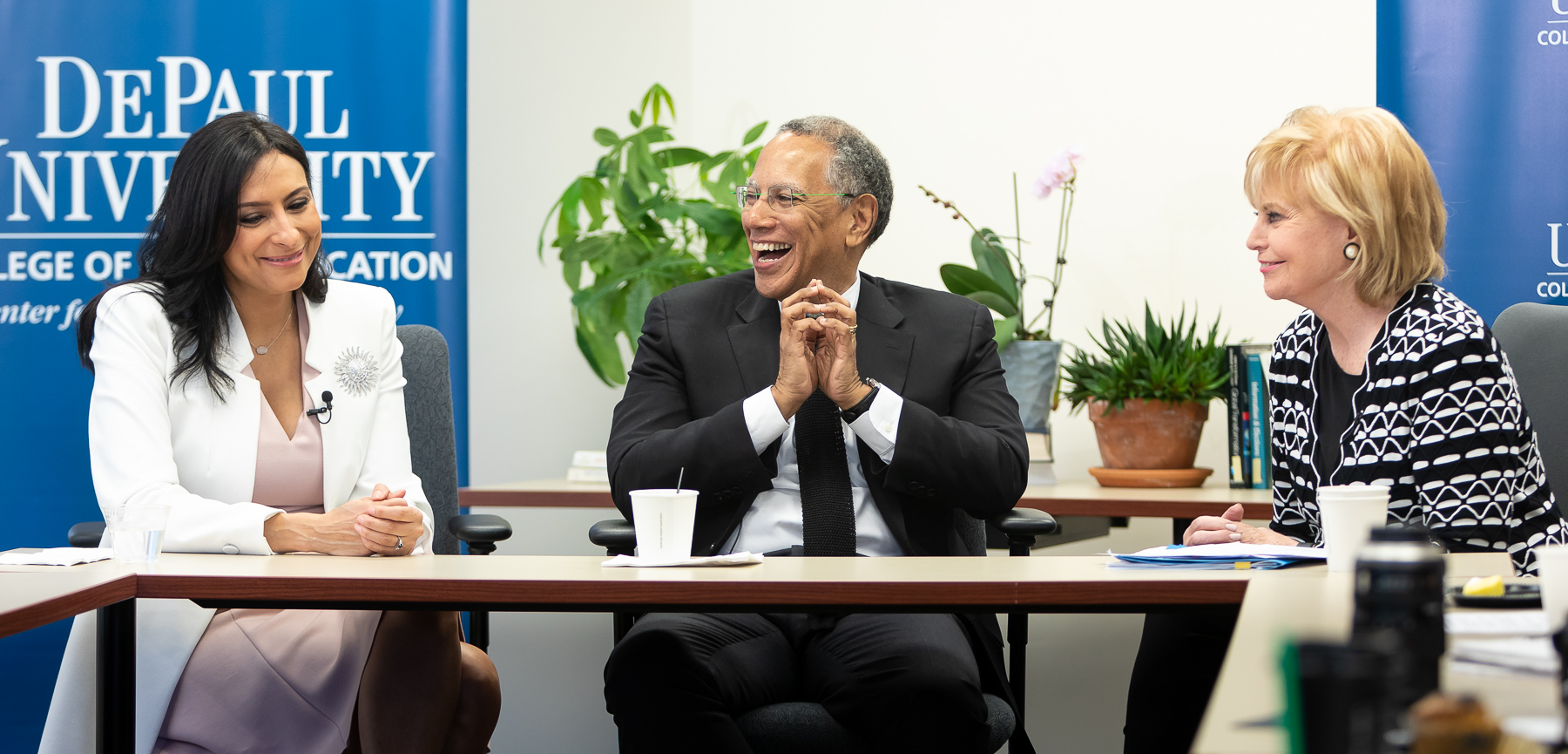 Left to right, Lourdes Duarte, investigative reporter, co-anchor, WGN News and a DePaul alumna, Dean Baquet, executive editor, The New York Times, and Carol Marin, co-director of the Center for Journalism Integrity and Excellence at a meeting with College of Communications journalism students. (DePaul University/Jeff Carrion)