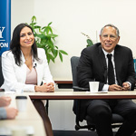 Dean Baquet and Lourdes Duarte visit journalism students