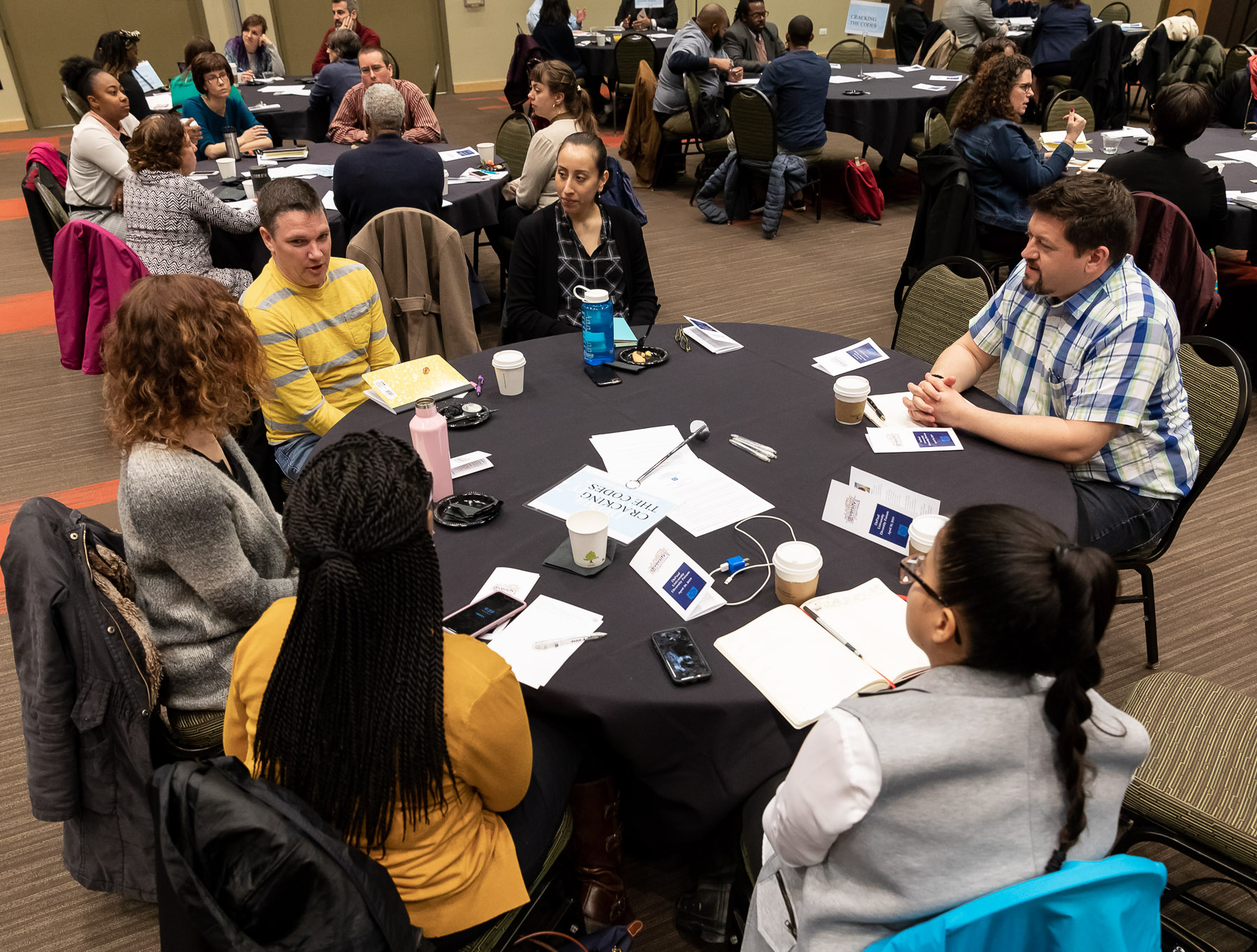 Groups of faculty, staff and students took time to talk about diversity topics during the event in the Lincoln Park Student Center. (DePaul University/Jeff Carrion)​​