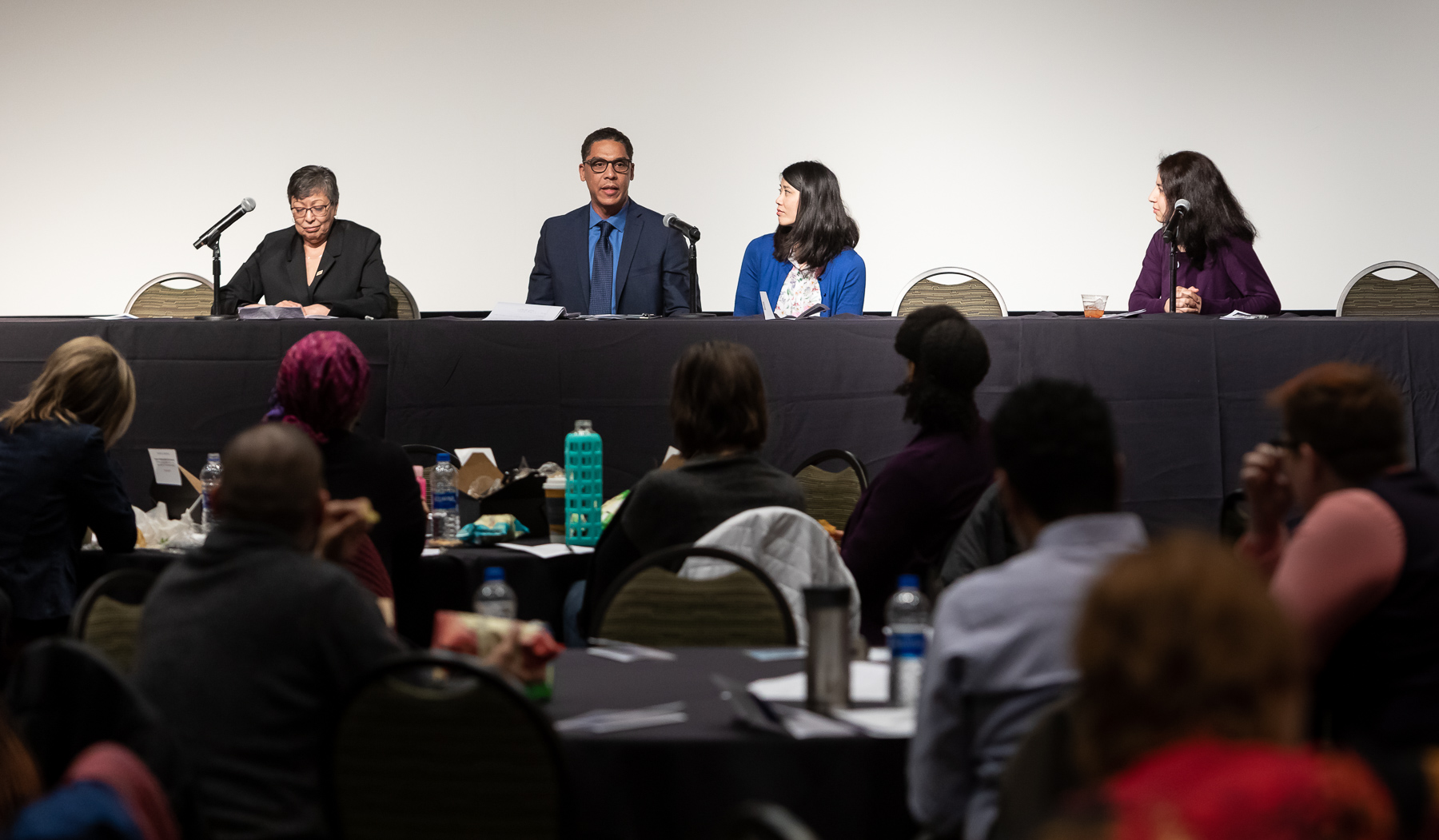 Following the screening and discussion, representatives from several of DePaul's employee resource groups including MERG, ELEVATE, LEAD and the DePaul Women's Network responded to questions about how they work to serve DePaul's diverse community. (DePaul University/Jeff Carrion)​​​​