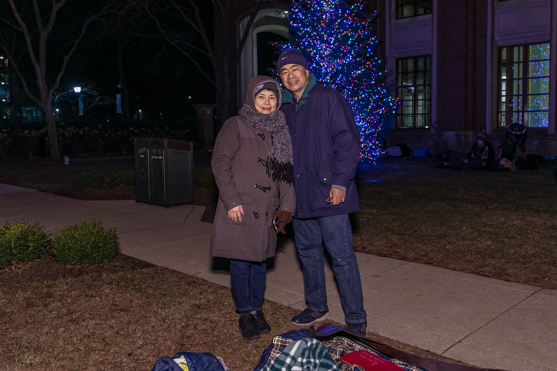 Dr. and Mrs. Esteban pose for a photo before hunkering down in St. Vincent's Circle for the night. (DePaul University/Randall Spriggs)