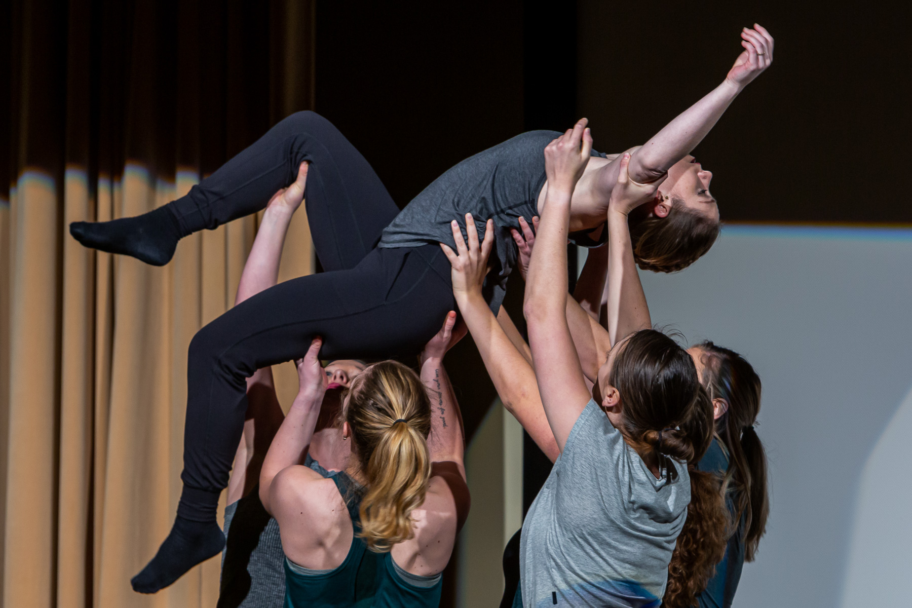 Members of the Trifecta Dance Collective perform an original piece, telling the story of homelessness through movement. (DePaul University/Randall Spriggs)