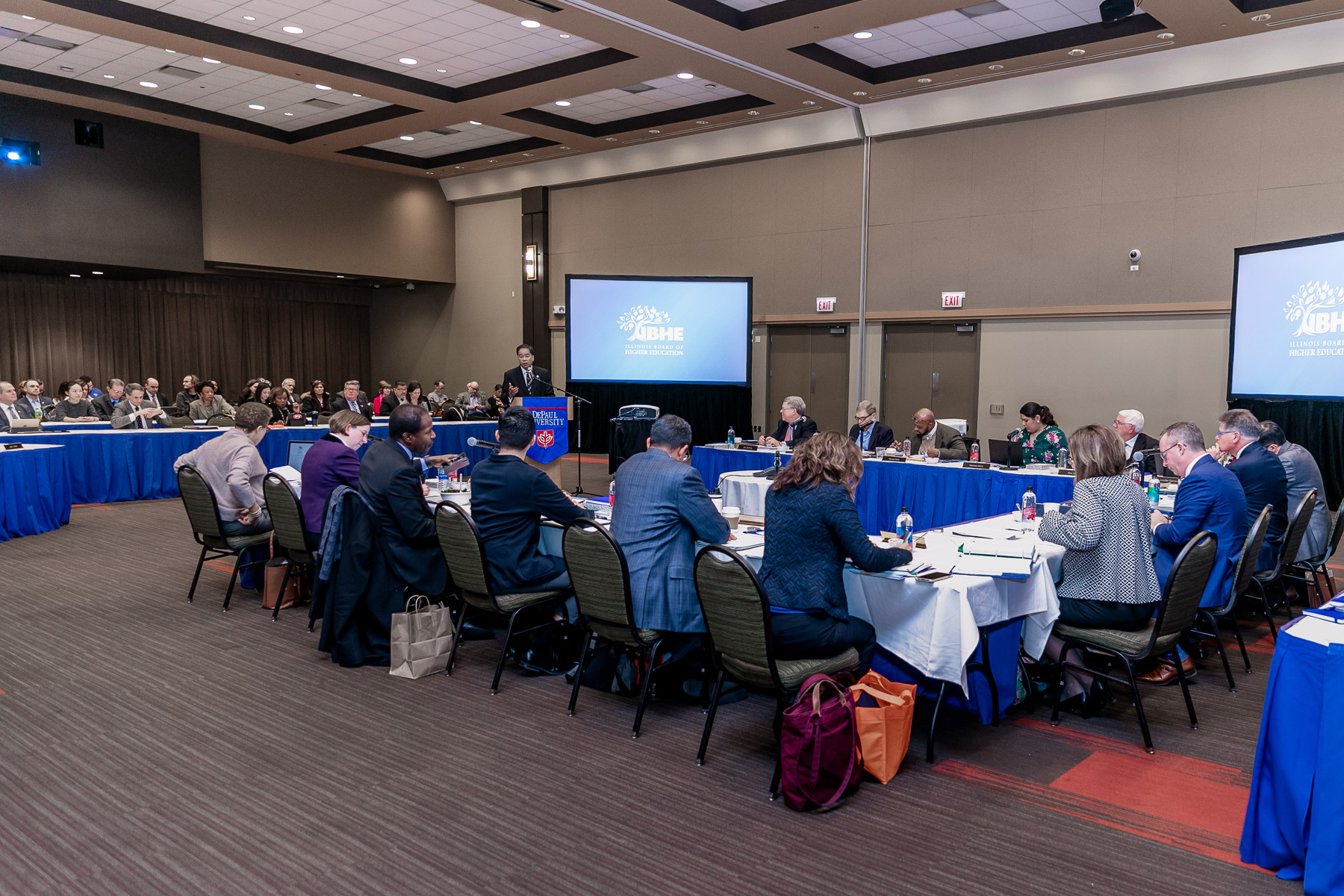 IBHE members and guests fill the student center for the winter board meeting. (DePaul University/Randall Spriggs)
