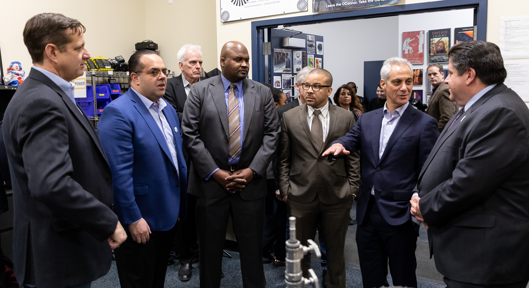 Left to right, John Corba, Alex Pissios, Elgie R. Sims, Jr. (D-Chicago), Ald. Michael Scott Jr. (24th), Chicago Mayor Rahm Emanuel and Illinois Governor JB Pritzker visit Cinespace Chicago Film Studios and DePaul University's School of Cinematic Arts, Thursday, Feb. 28, 2019, to discuss the growth of Illinois' film, TV and media industry. (DePaul University/Jeff Carrion)
