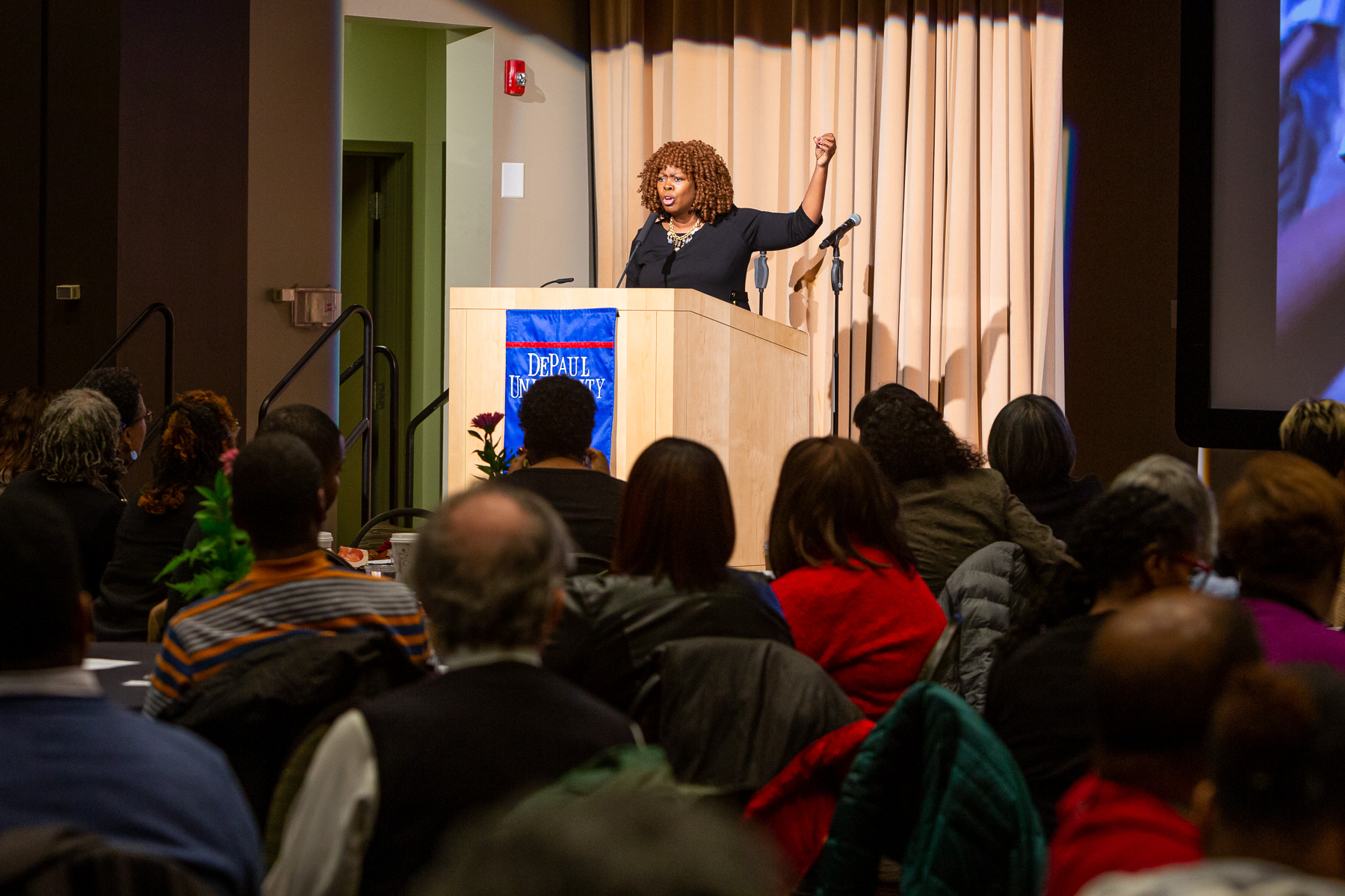 During this year's keynote address, author and activist LaTosha Brown, emphasized the importance of voting in order to bring about change. (DePaul University/Randall Spriggs)