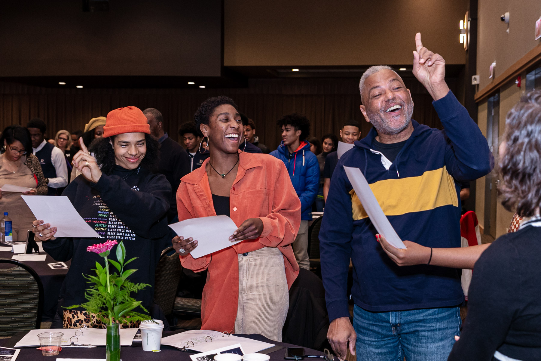 "Guests join in singing, ""Lift Ev'ry Voice and Sing."" (DePaul University/Randall Spriggs)"