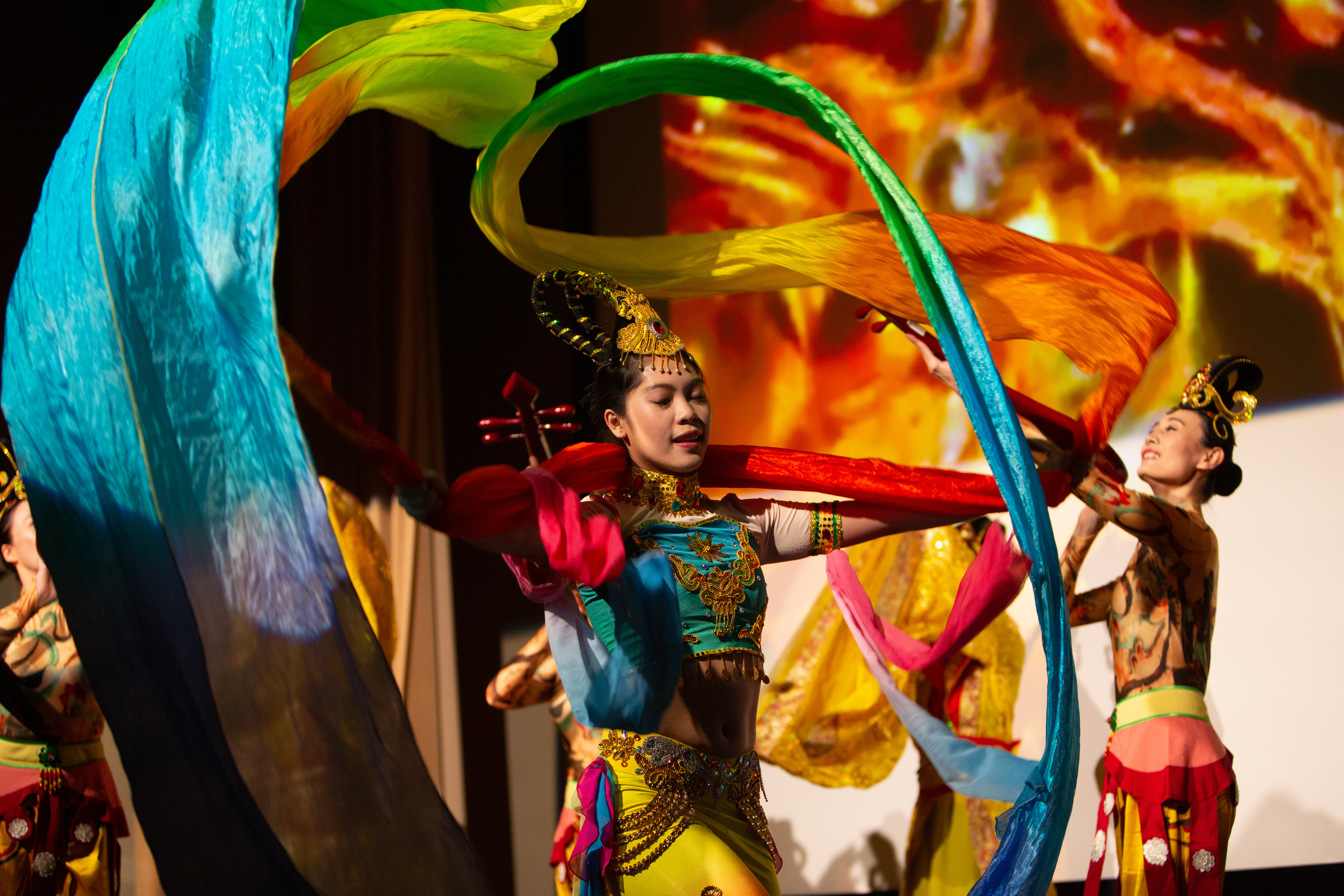 Members of the Hao Dance Chinese dance studio perform during DePaul University's 12th annual celebration of the Chinese lunar new year. (DePaul University/Randall Spriggs)