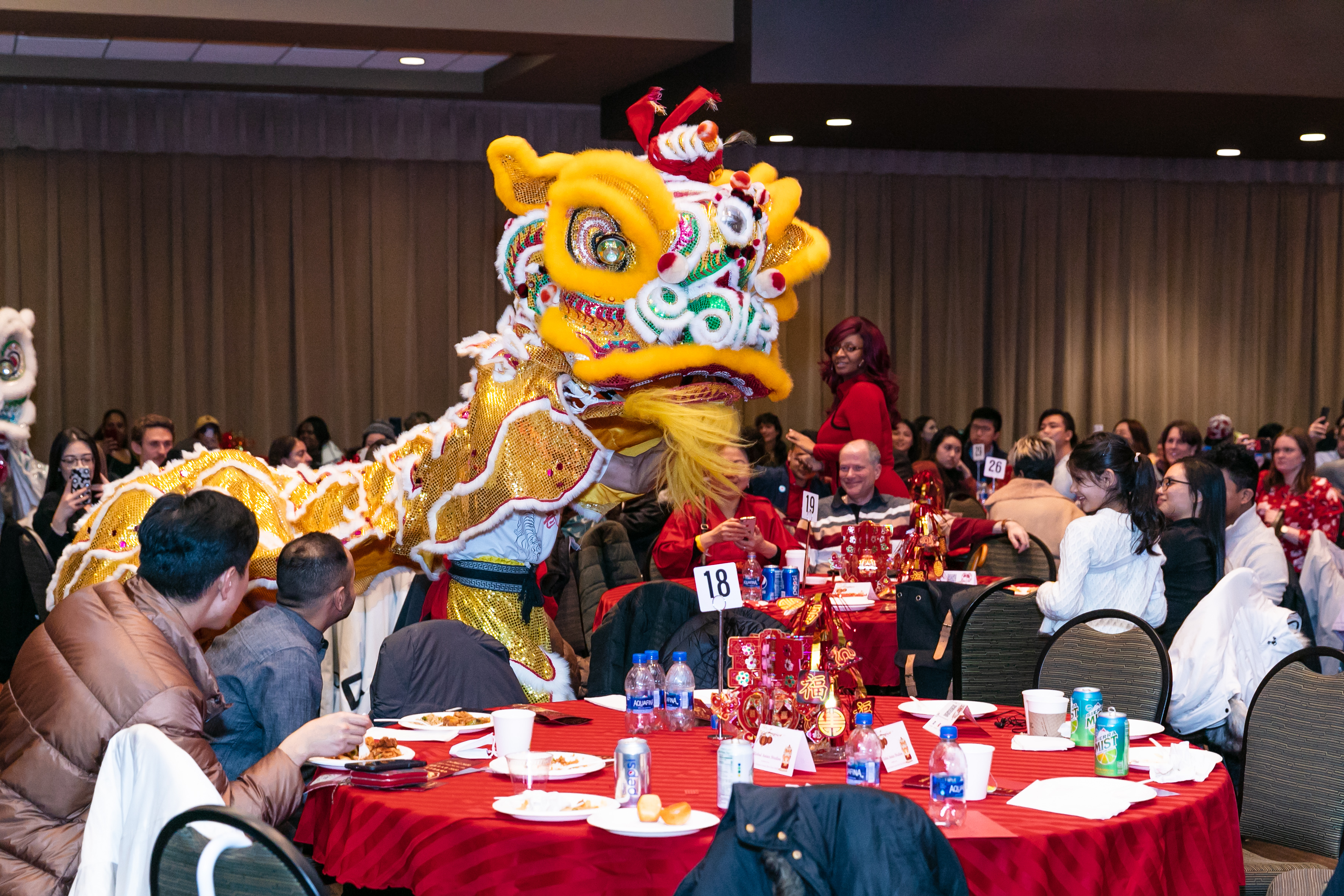 Guests were entertained by a traditional Chinese lion dance during the celebration. (DePaul University/Randall Spriggs)
