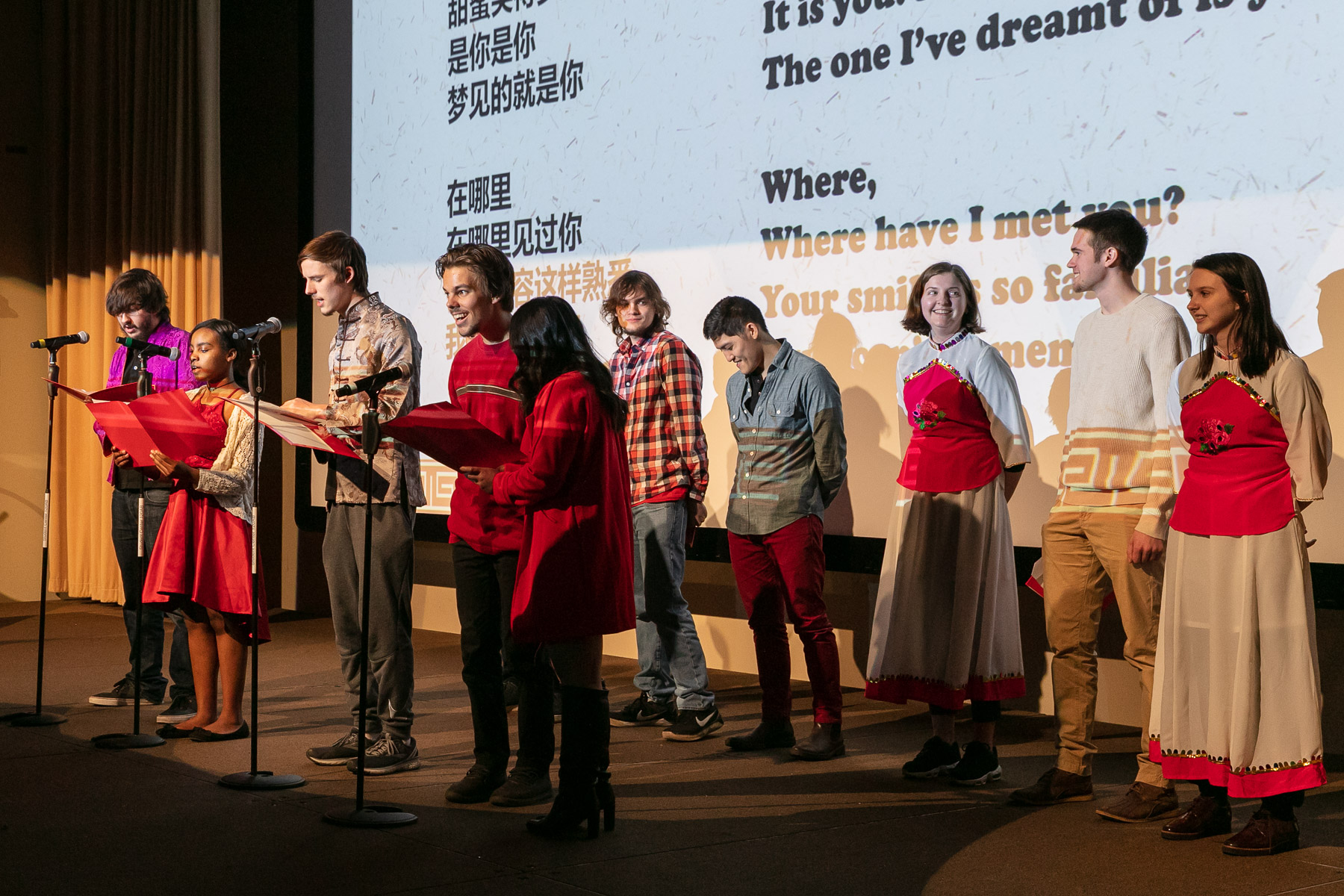 "Chinese studies students perform the song ""Sweet as Honey"" during the Chinese New Year Gala held in the Lincoln Park Student Center. (DePaul University/Randall Spriggs)"