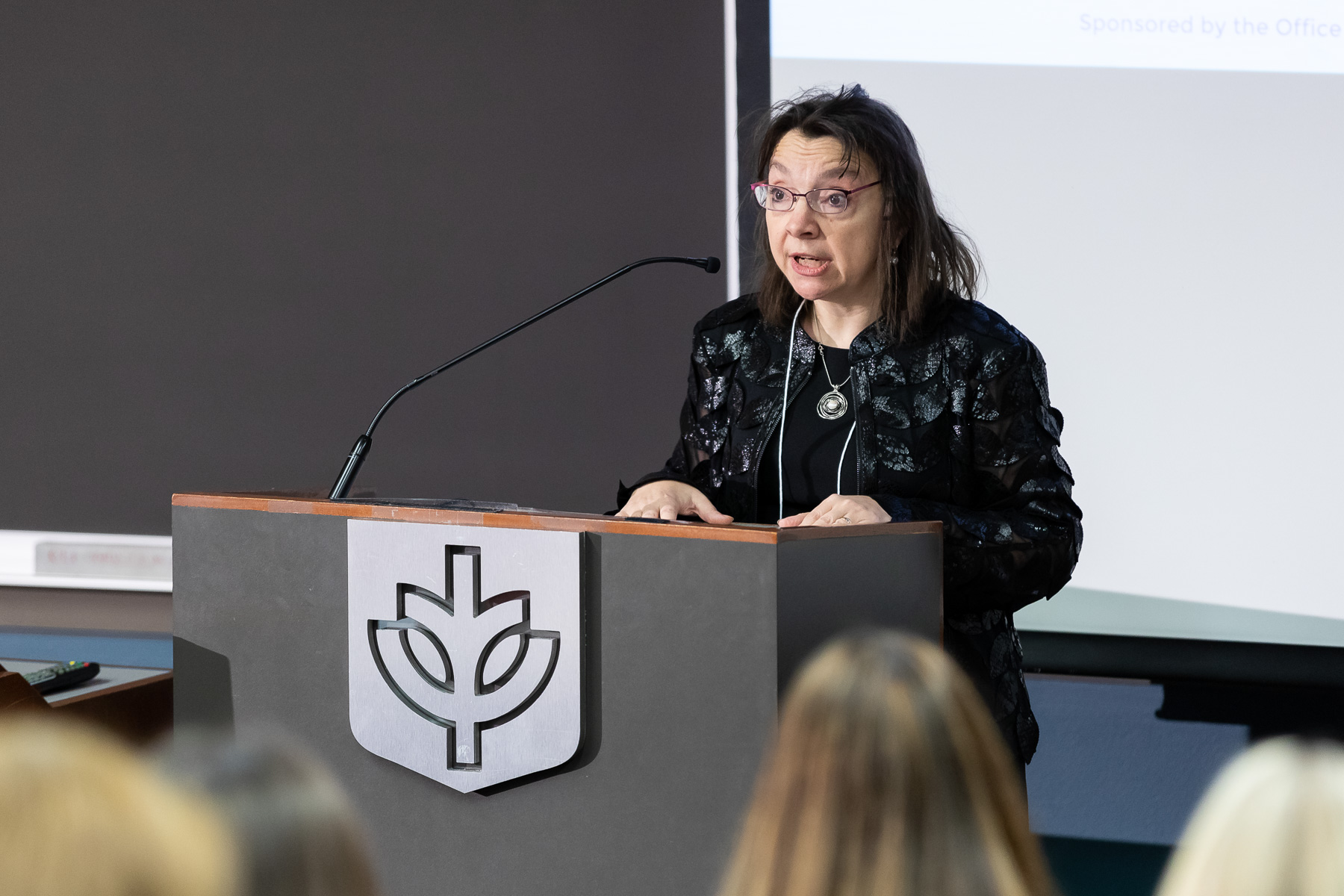 Daniela Stan Raicu, professor and associate provost for research and member of the organizing committee, also made remarks welcoming attendees. Innovation Day was focused on featuring Academic Growth and Innovation Fund (AGIF) projects. (DePaul University/Jeff Carrion)