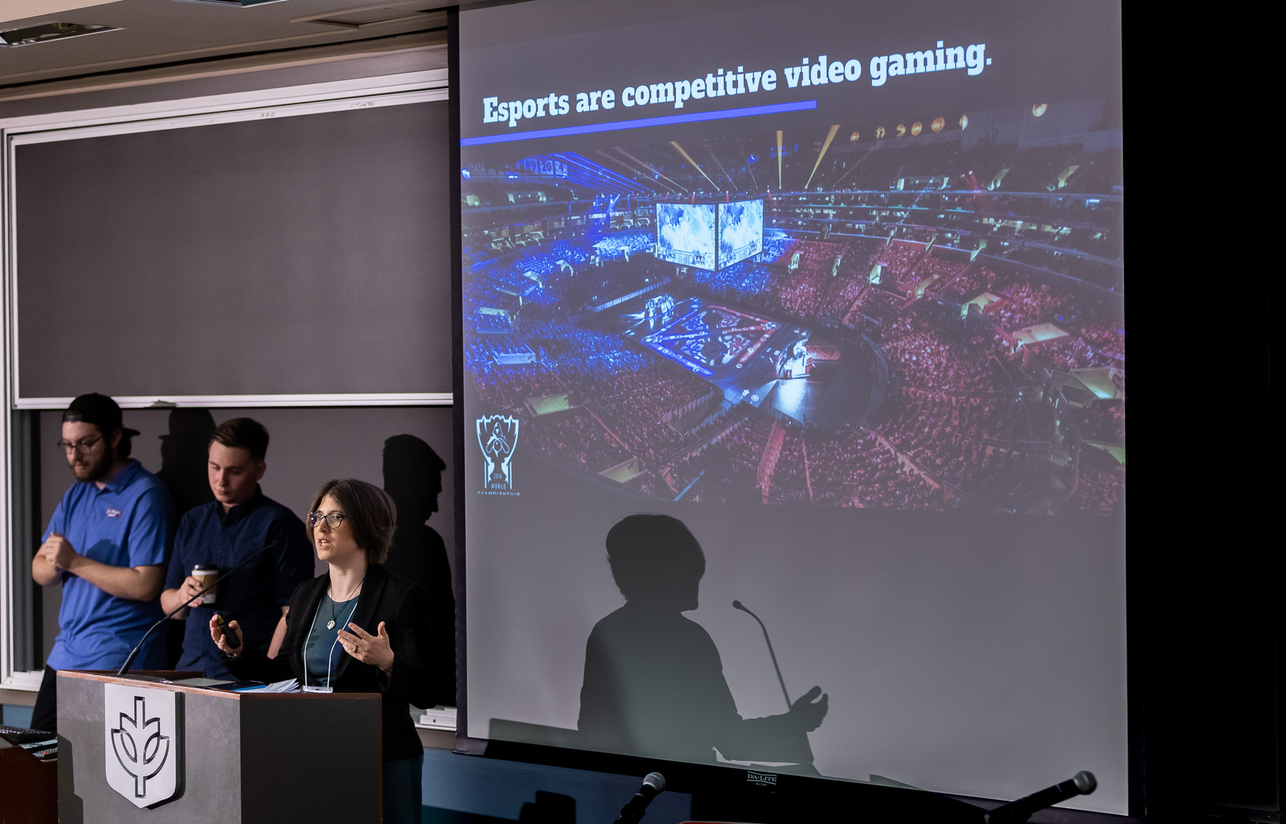 Samantha Close, assistant professor in the College of Communication, presents her project, Esports at DePaul: An Opportunity to Advance Vincentian Values & Establish Academic Leadership in a Cultural Phenomenon. (DePaul University/Jeff Carrion)