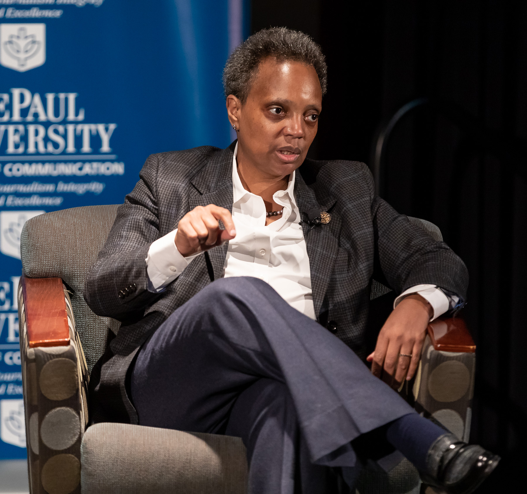 Chicago Mayor Lori Lightfoot reacts to a question during a forum with DePaul University journalism and public relations students. (DePaul University/Jeff Carrion)