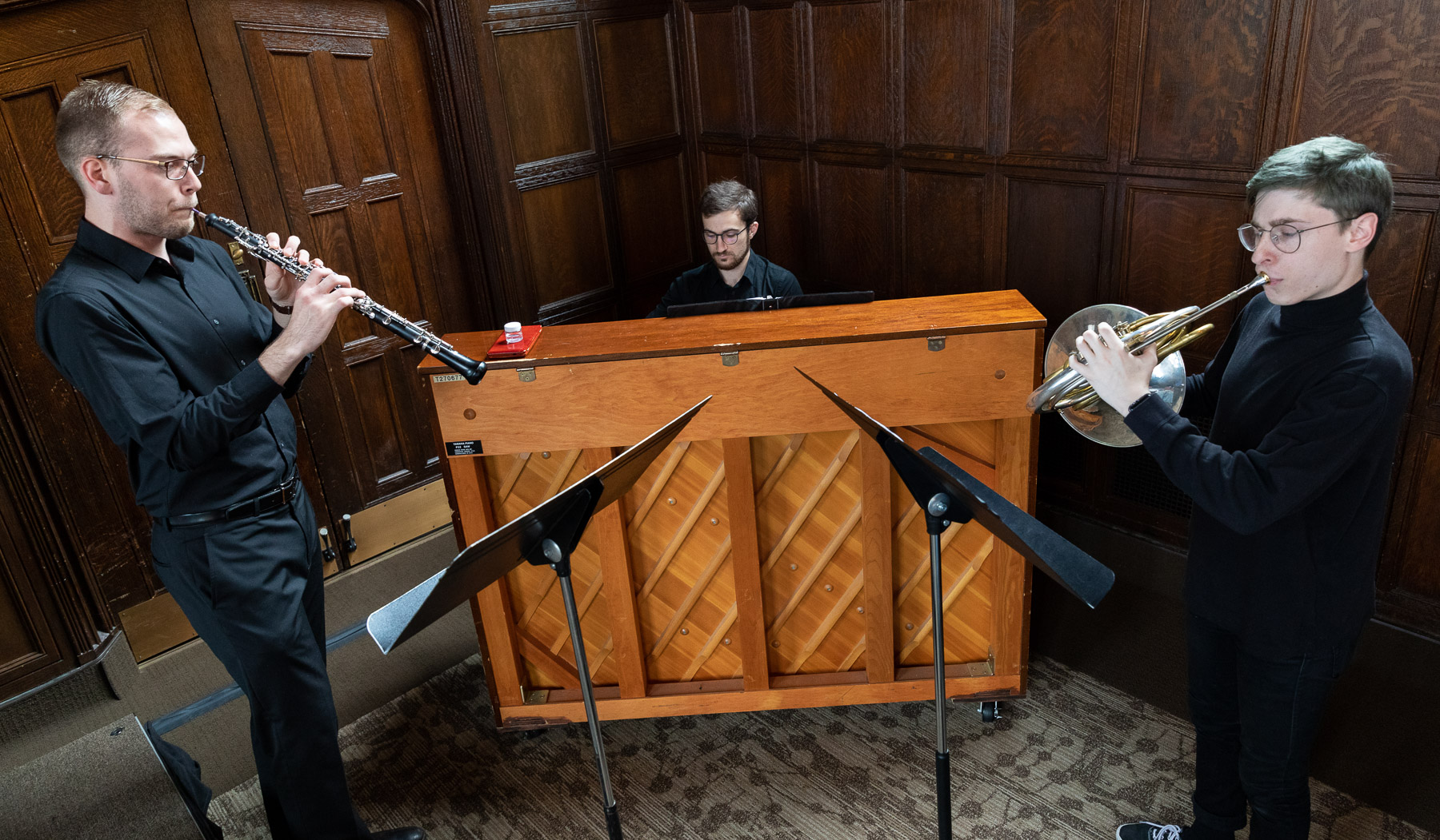 Left to right, Ian Egeberg, Ryan Senger and Jacob Nelson, students in the School of Music, performed at the breakfast hosted by the Office of Institutional Diversity and Equity. (DePaul University/Jeff Carrion)