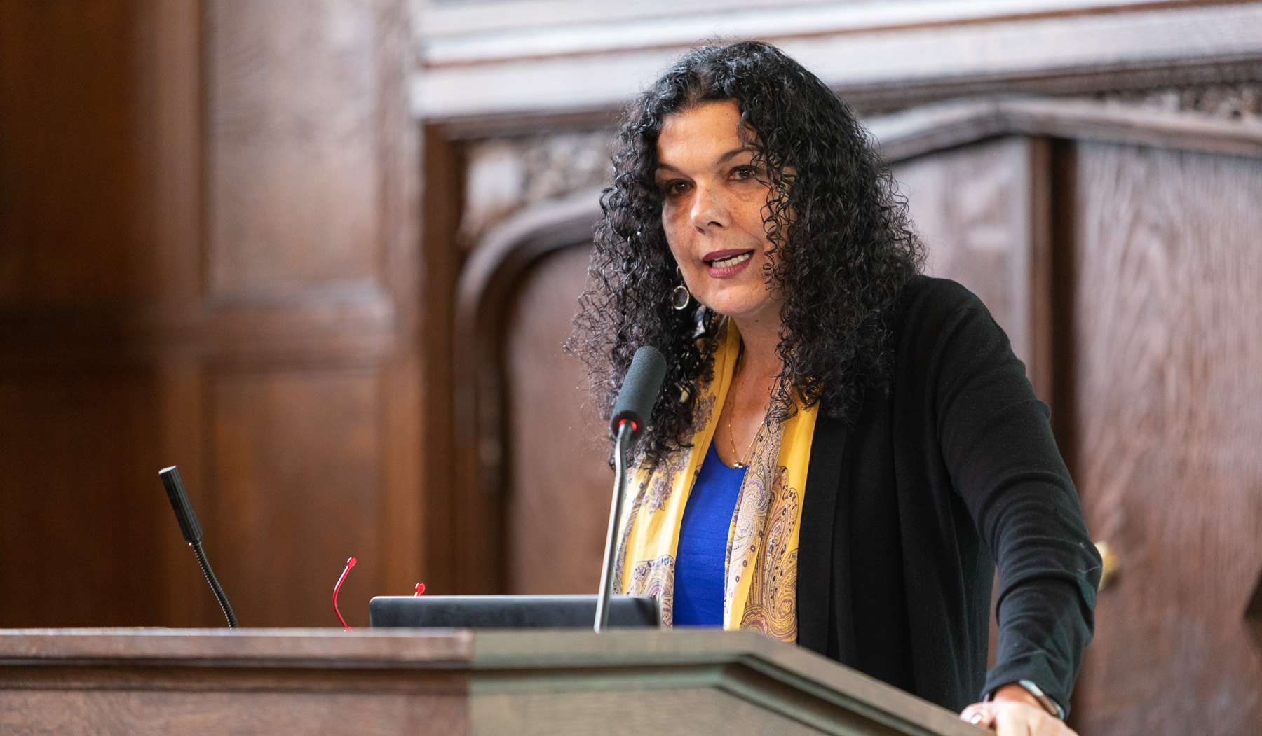 Salma Ghanem, acting provost, offered welcoming remarks. (DePaul University/Jeff Carrion)​