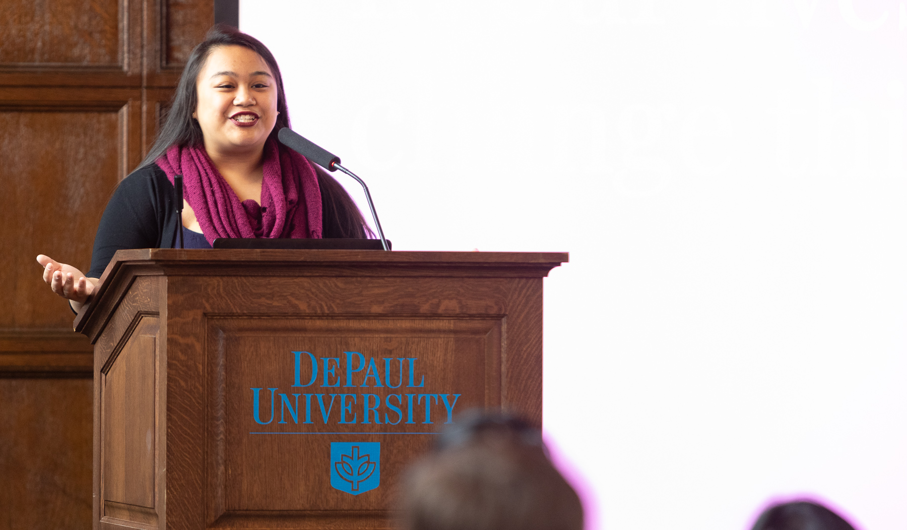 Alyssa Isberto, SGA senator for Community and Government Relations, also spoke during the event. (DePaul University/Jeff Carrion)