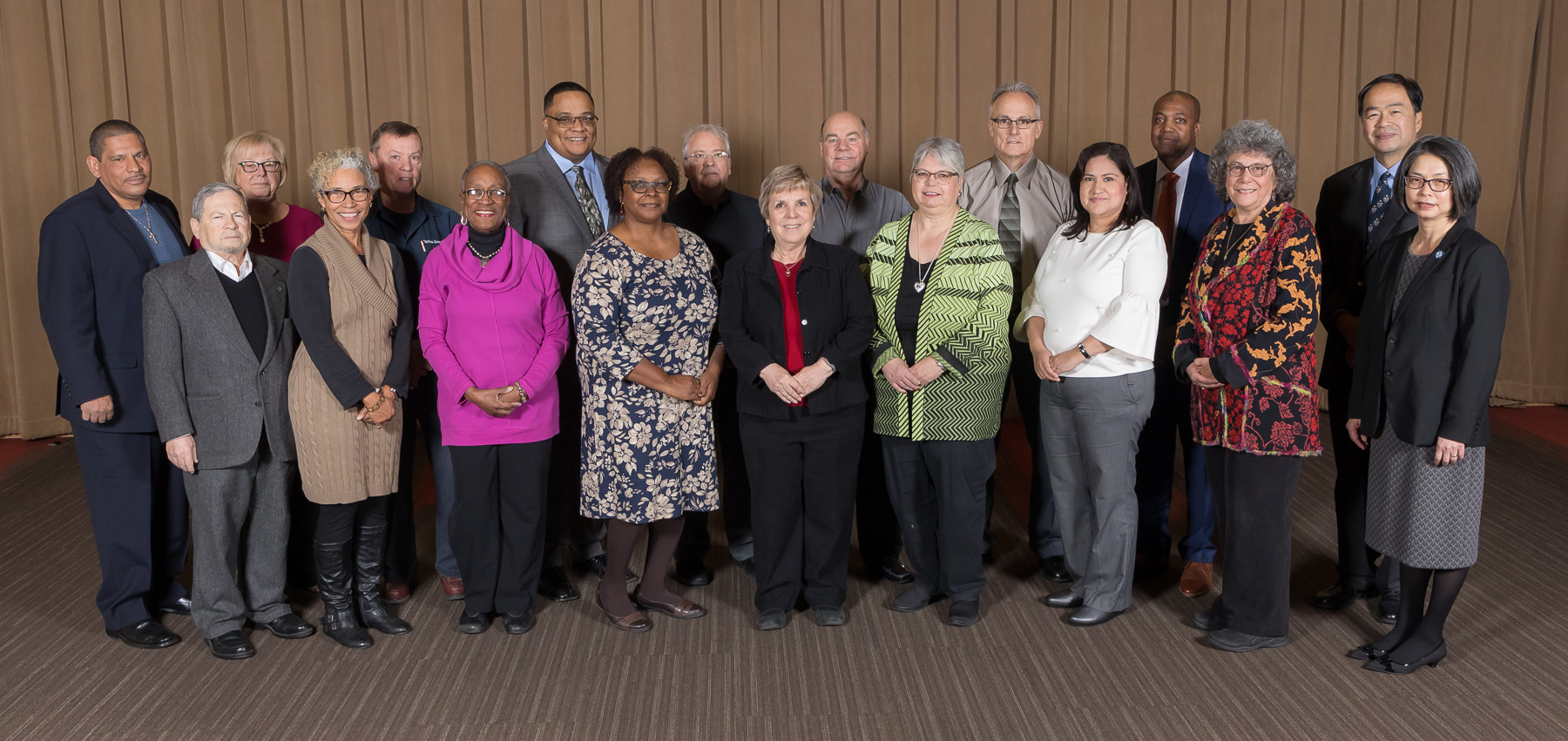 Back row, left to right, Jaime Ramos, Maureen Greene, James Hosty, Cornell Lambert, Peter Vandenberg, Walter Rabenda, Michael Barna, Vernon Crowder, A. Gabriel Esteban, front row, left to right; Ilya Meiertal, Lori Murphy, Enora Brown, Nell Cobb, Terry Taylor, Donna Del Giudice, Yolanda Mondragon, Susan Jacobs, Josephine Esteban. DePaul University faculty and staff members are inducted into DePaul University's 25 Year Club, Tuesday, Nov. 14, 2017, at the Lincoln Park Student Center. Employees celebrating their 25th work anniversary were honored at the luncheon with their colleagues and will have their names added to plaques located on the Loop and Lincoln Park Campuses. (DePaul University/Jeff Carrion)