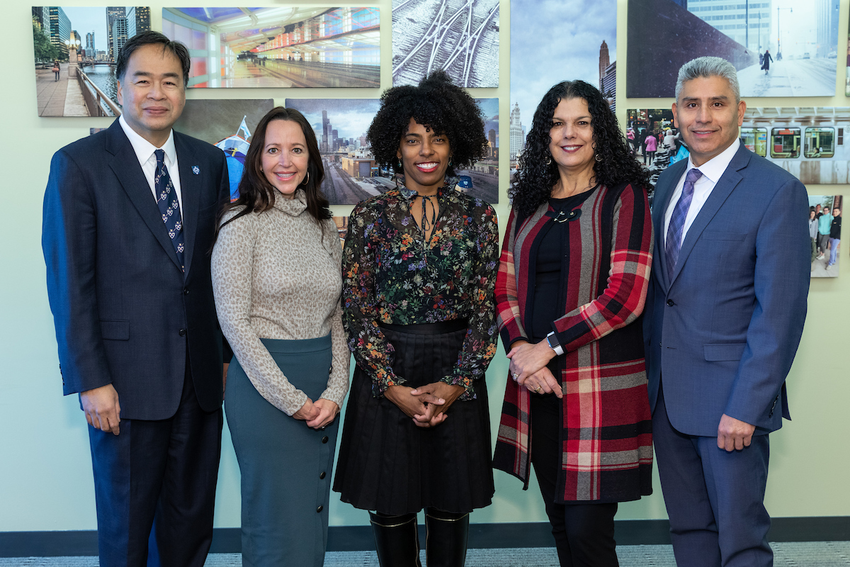 Left to right, A. Gabriel Esteban, Ph.D., president of DePaul University; Peggy Korellis, interim president of Harold Washington College; Sybil Madison, deputy mayor for education and human services for the city of Chicago; Salma Ghanem, DePaul's interim provost; and Juan Salgado, chancellor for City Colleges of Chicago