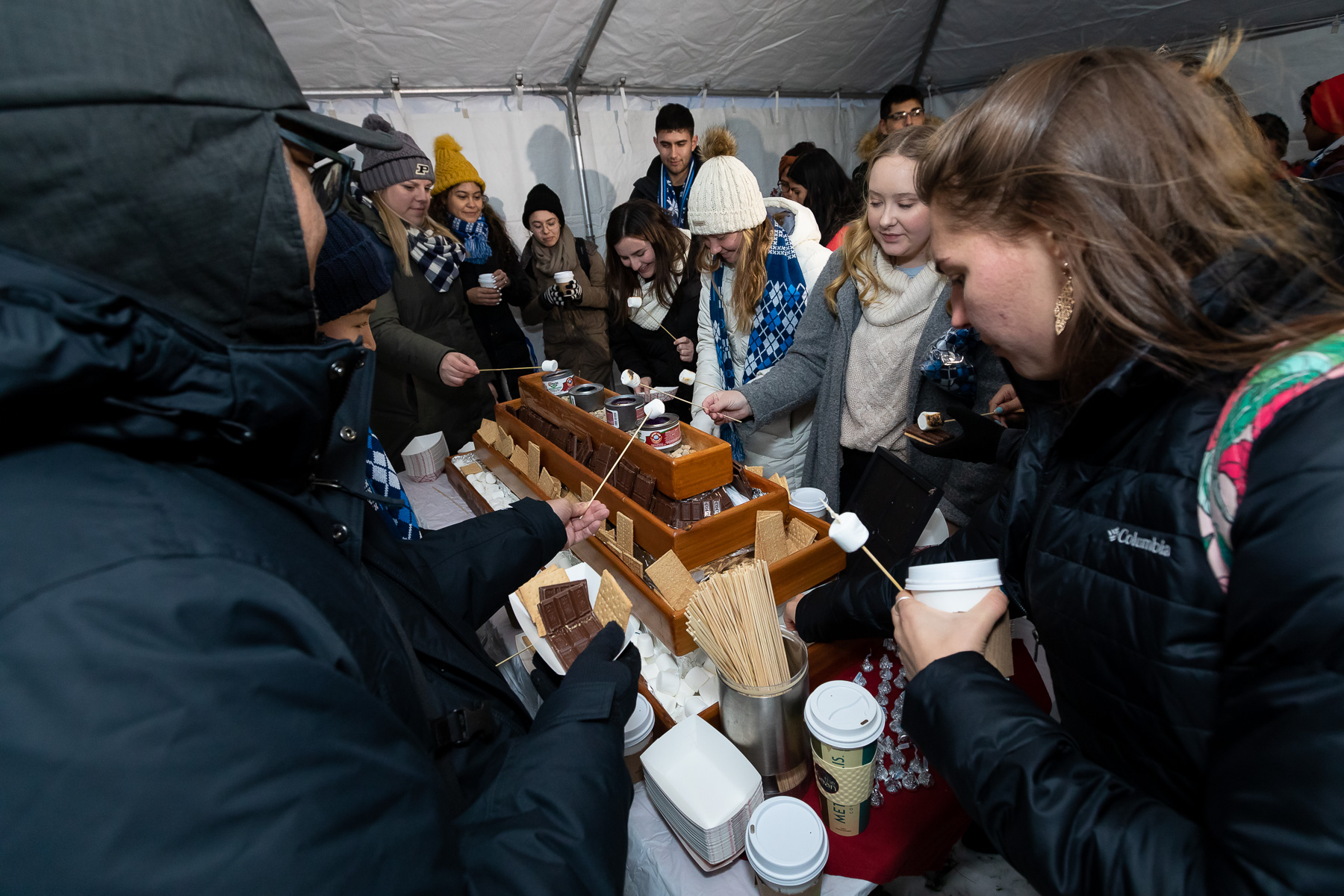 A s'mores roasting tent was available to chilly students during the second-annual Tree Lighting Ceremony. (DePaul University/Jeff Carrion)