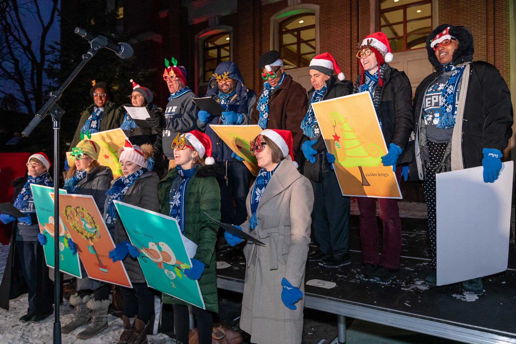 The DePaul Tree Lighting Choir, made up of DePaul staff, gave their rendition of The Twelve Days of Christmas before the tree was lit. (DePaul University/Jeff Carrion)
