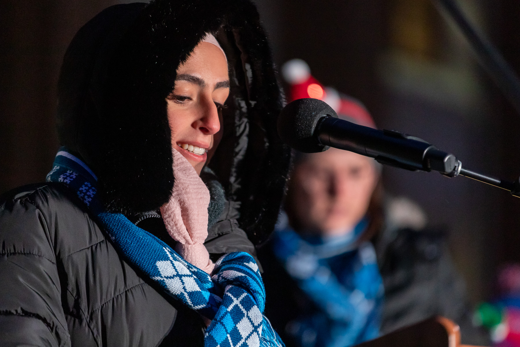 Watfae Zayed, a sophomore majoring in neuroscience, member of the Student Government Association and United Muslims Moving Ahead, served as student emcee for the event. (DePaul University/Jeff Carrion)