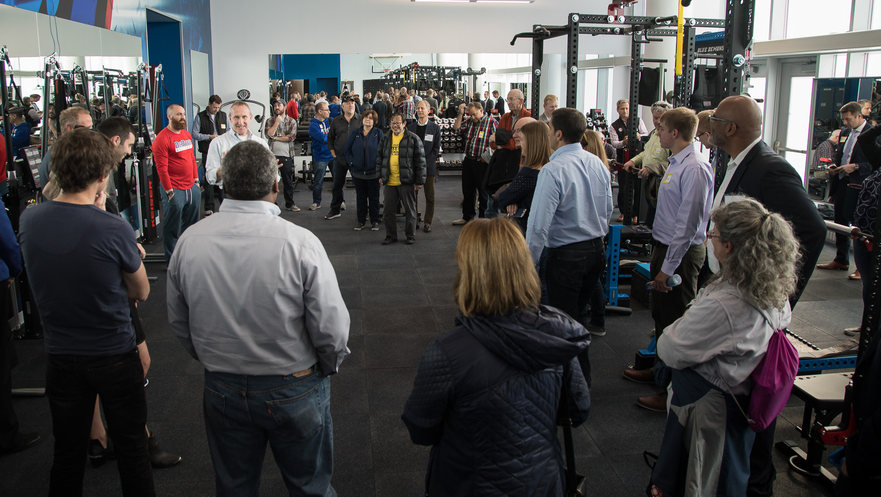 Attendees explore the weight room during the Chicago Ideas Week tour. (DePaul University/Jeff Carrion)