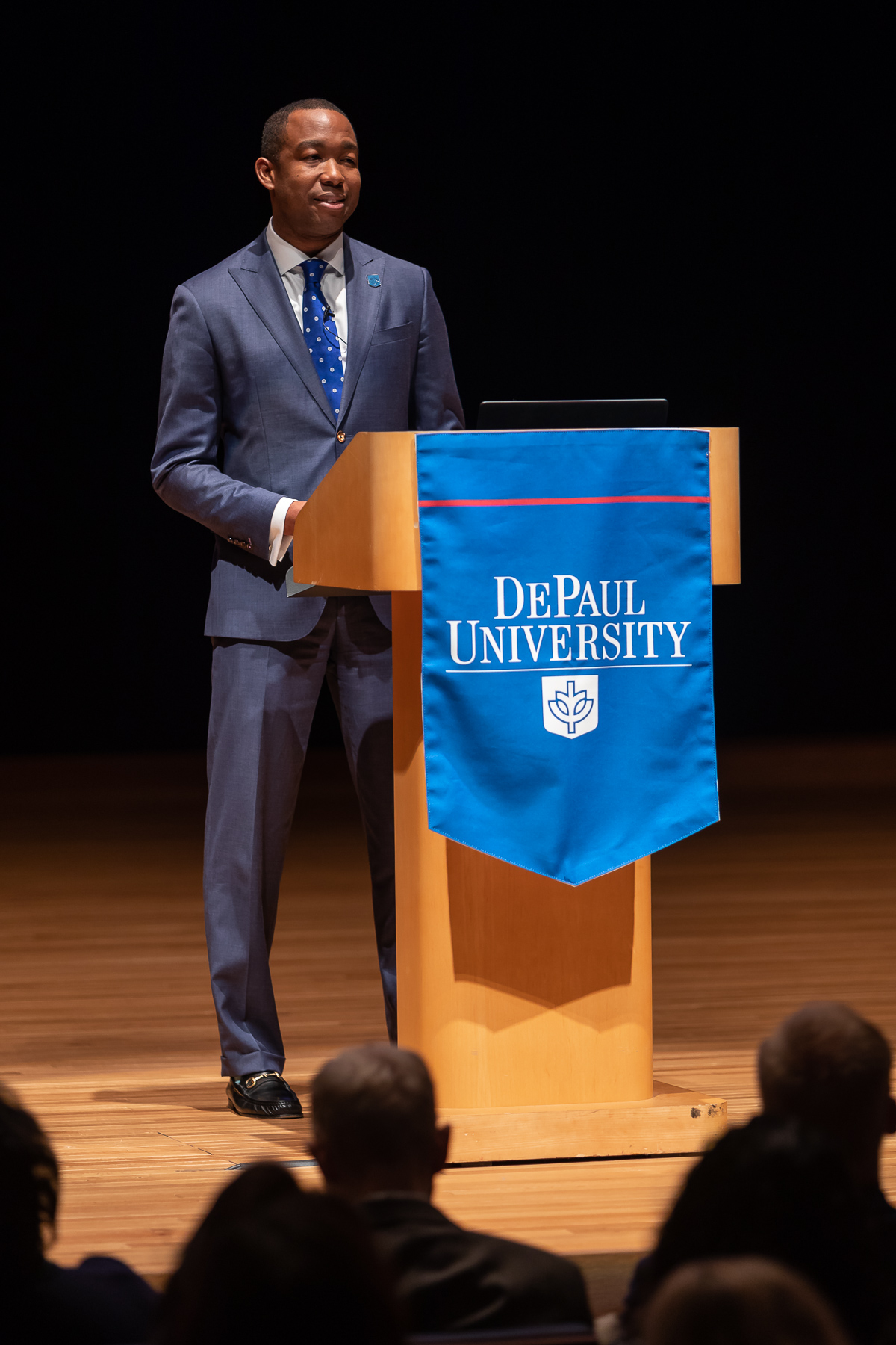 Steve Stoute, chief of staff, begins the program by introducing a video about the new strategic plan. (DePaul University/Jeff Carrion)​