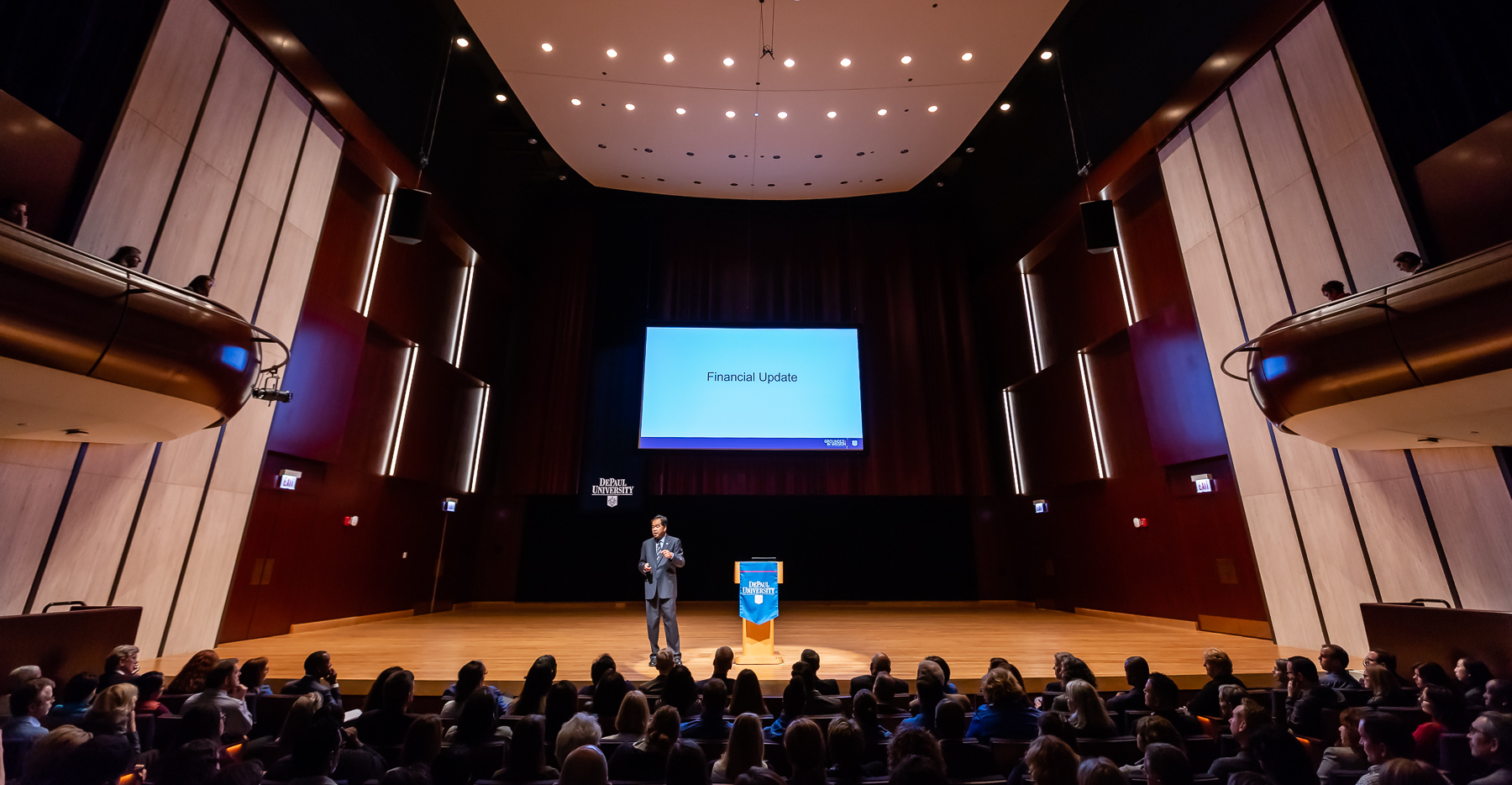 Dr. Esteban quipped that this was the second year in a row to deliver the address in a new DePaul facility. (DePaul University/Jeff Carrion)​