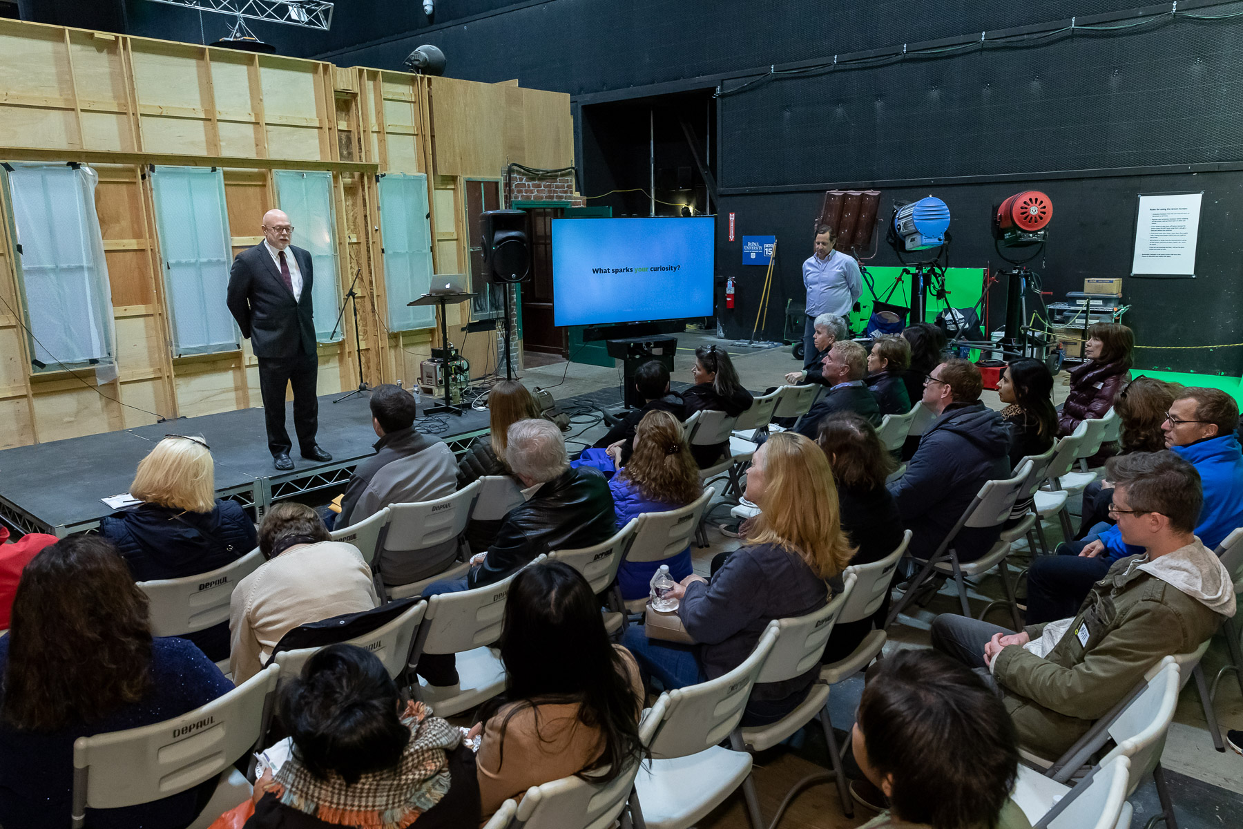 David Miller, dean of the College of Computing and Digital Media, speaks during the Chicago Ideas Week Lab: Behind the Scenes at Cinespace with DePaul University, Monday, Oct. 14, 2019, at Cinespace Chicago Film Studios on Chicago's West Side. (DePaul University/Jeff Carrion)
