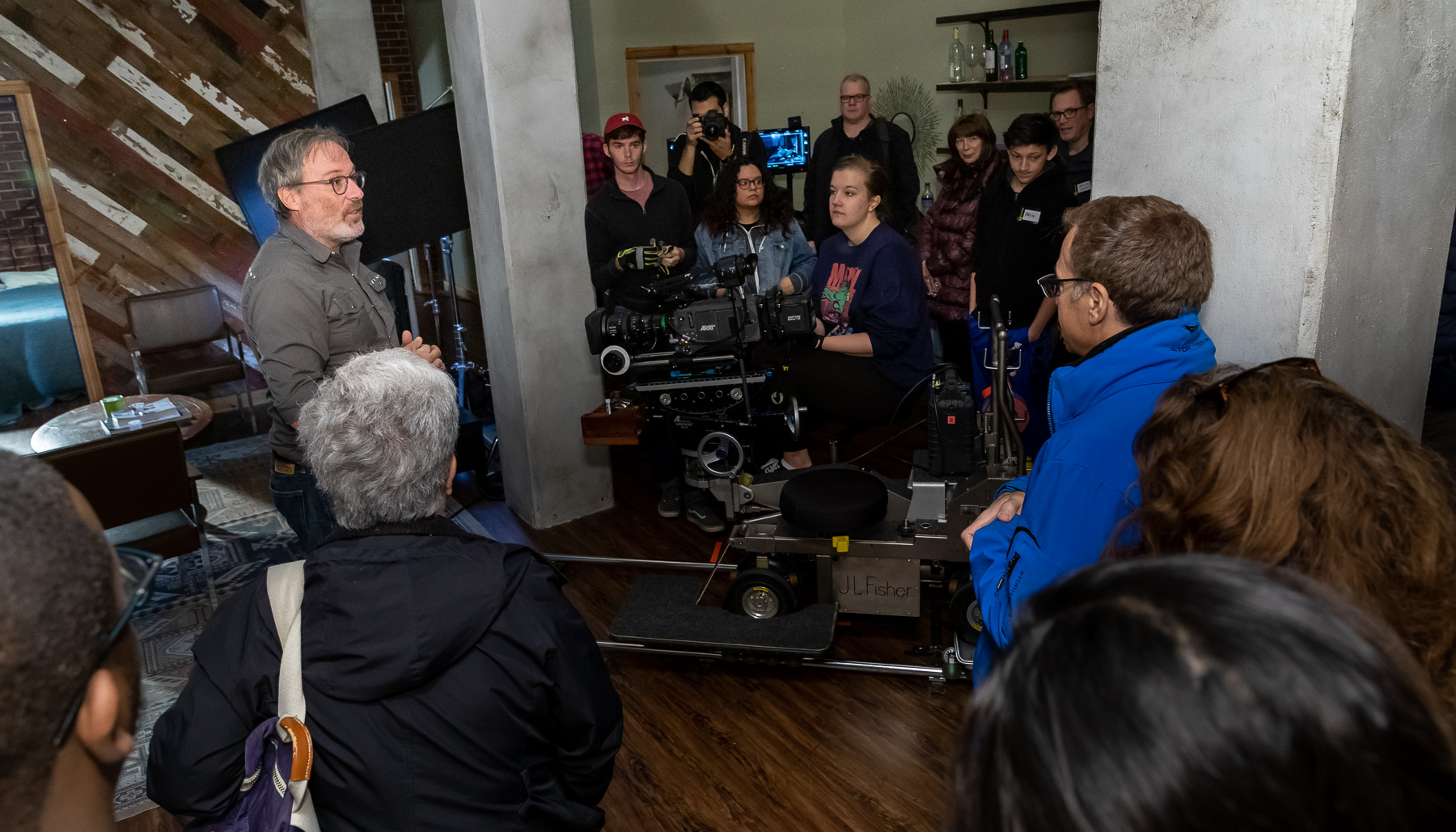 Pete Biagi, cinematographer in residence in the College of Computing and Digital Media, leads a demonstration of filming techniques during the Chicago Ideas Week Lab: Behind the Scenes at Cinespace with DePaul University, Monday, Oct. 14, 2019, at Cinespace Chicago Film Studios on Chicago's West Side. (DePaul University/Jeff Carrion)