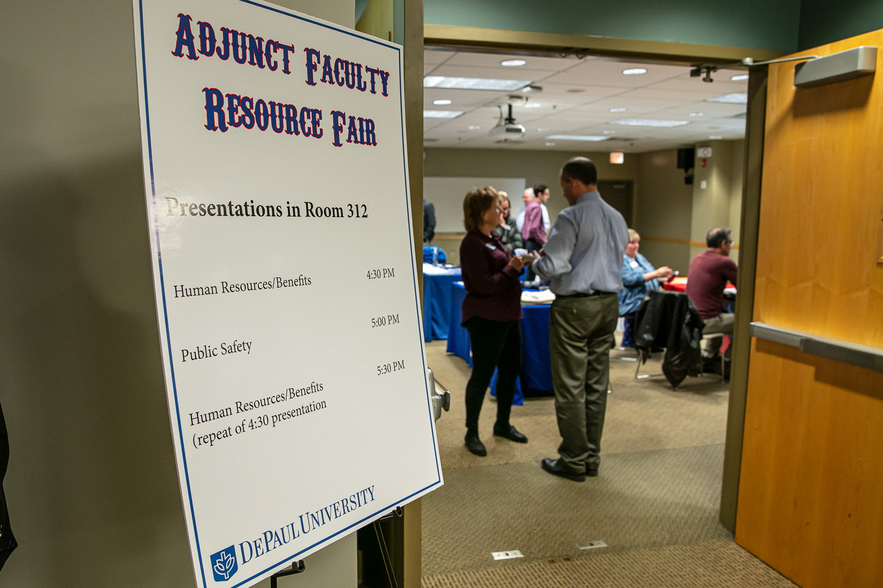 The Workplace Environment Committee (WEC) and Academic Affairs hosts an Adjunct Faculty Resource Fair, Tuesday, Oct. 15, 2019, on DePaul's Lincoln Park Campus. Part-time faculty members were encouraged to attend and learn about the many resources available to them at DePaul University. (DePaul University/Randall Spriggs)