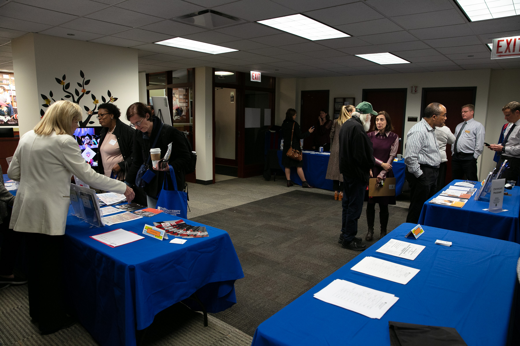 The School of Continuing and Professional Studies hosts its Fall Open House, Thursday, Oct. 17, 2019, at the Richard M. and Maggie C. Daley Building in DePaul's Loop Campus. (DePaul University/Randall Spriggs)