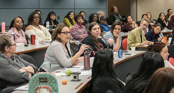 Faculty organized a February conference on traumatic brain injury and domestic violence, and some 120 people attended, including social workers, law enforcement and local health care workers. (DePaul University/Jamie Moncrief)